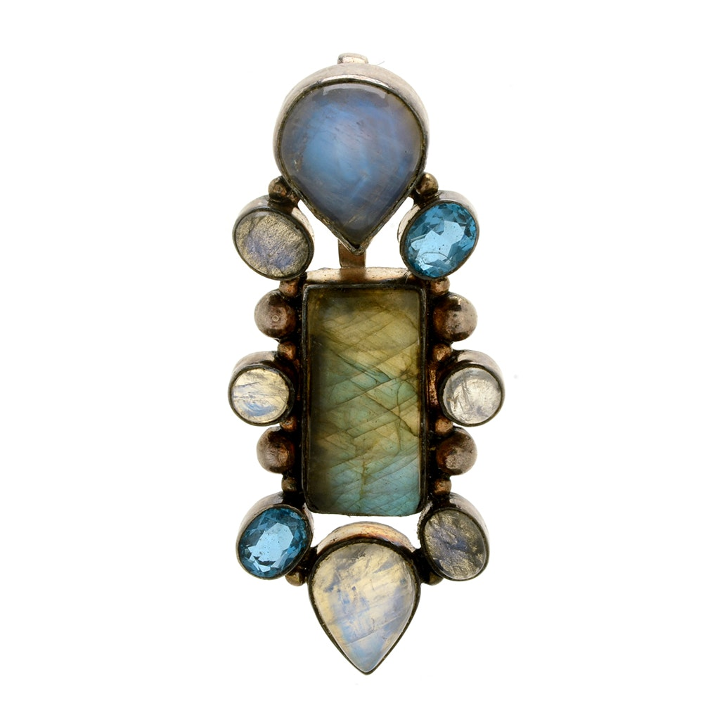 Sterling Silver Labradorite Moonstone and Blue Topaz Pendant