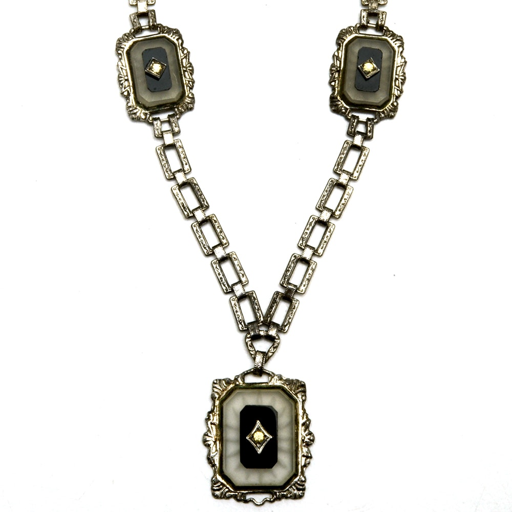 Sterling Silver Glass and Foilback Link Necklace