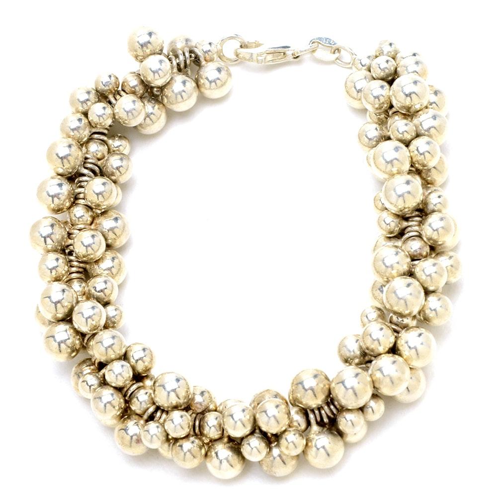 Sterling Silver Cluster Bead Bracelet