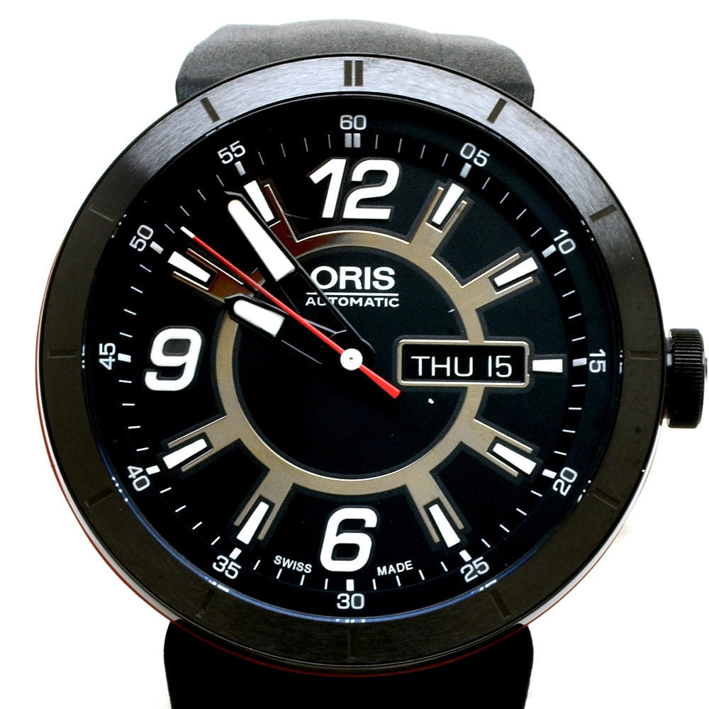 NEW Oris TT1 Day Date 43mm PVD/DLC Black Coated Steel Automatic