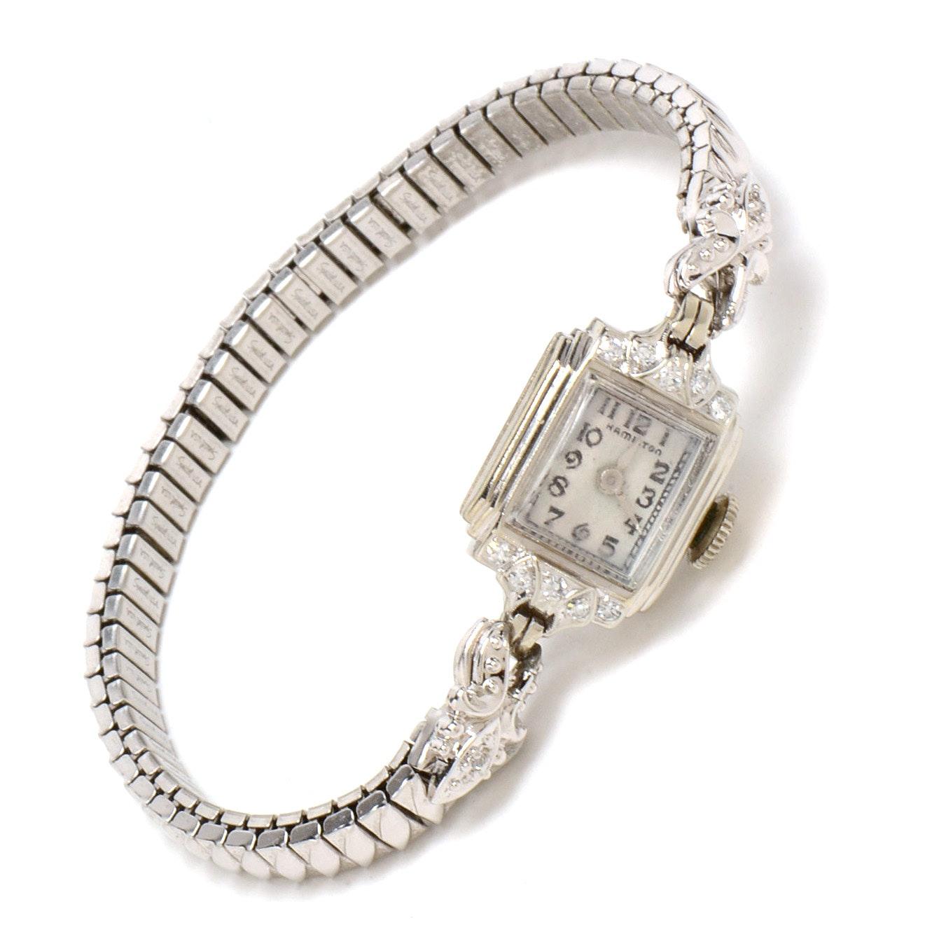 Women's Vintage 14K White Gold Diamond Wristwatch Bracelet
