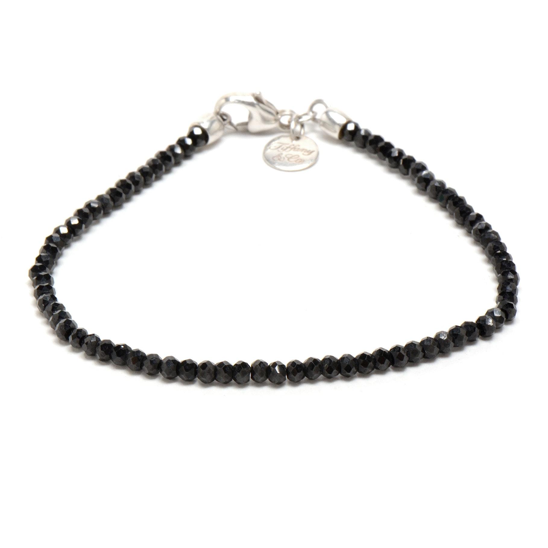 Tiffany & Co. Ziegfeld Black Spinel Beaded Sterling Bracelet