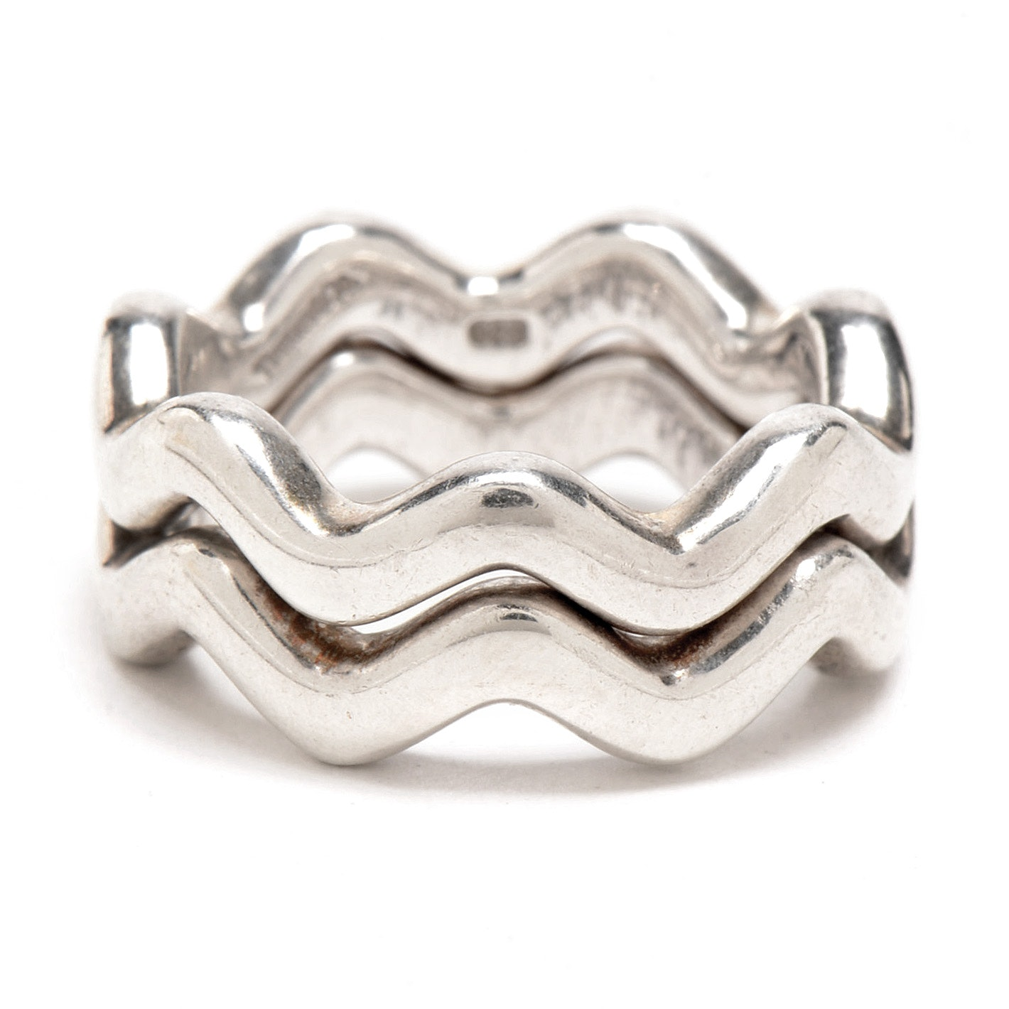 Two Tiffany & Co. Paloma Picasso Sterling Wave Interlocking Rings
