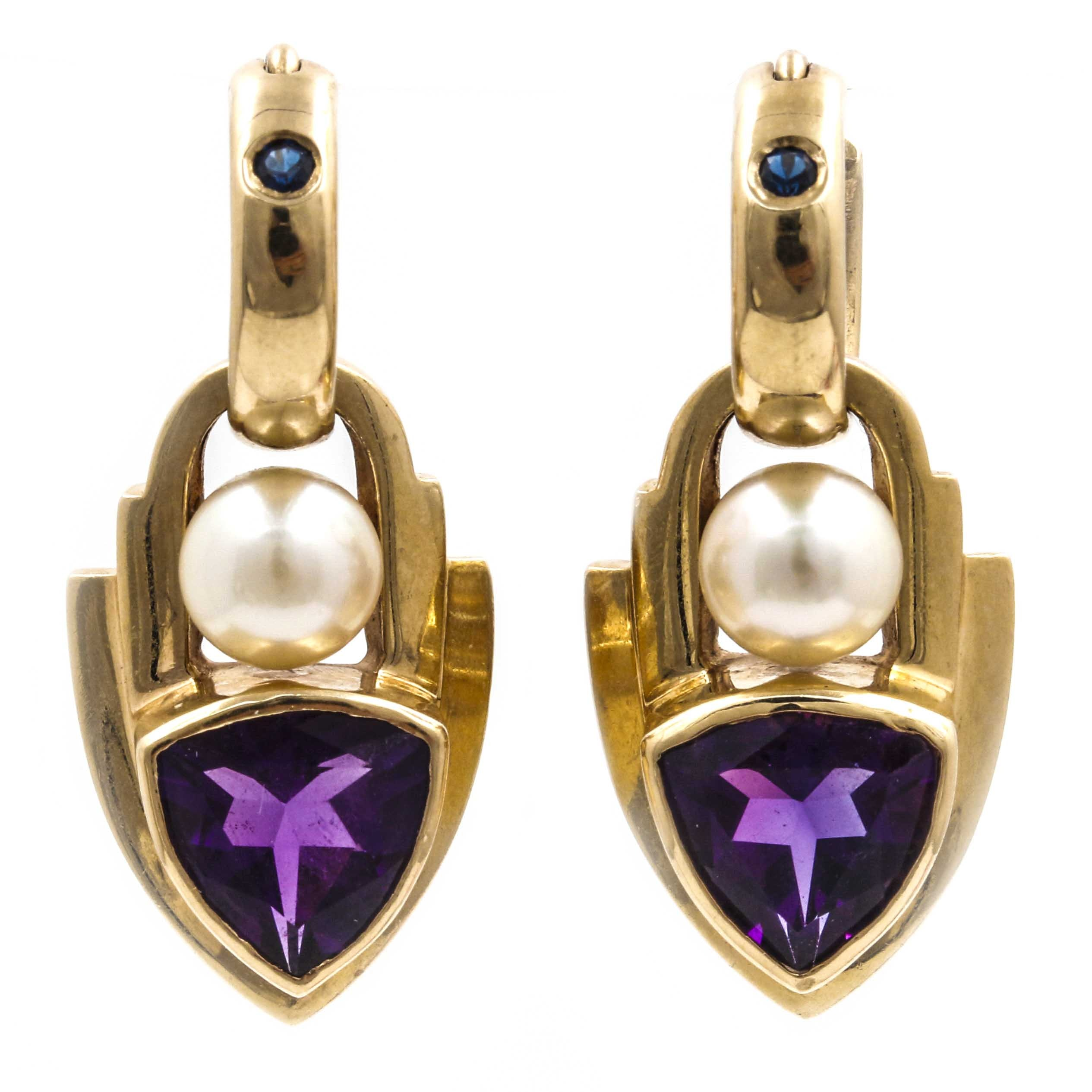 14K Yellow Gold Earrings With Amethyst, Cultured Pearl, and Sapphire