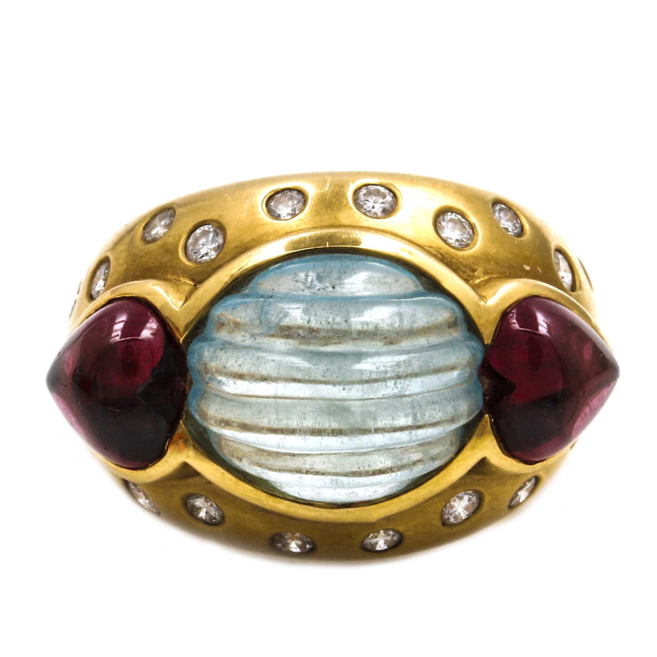 18K Yellow Gold Diamond and Gemstone Ring