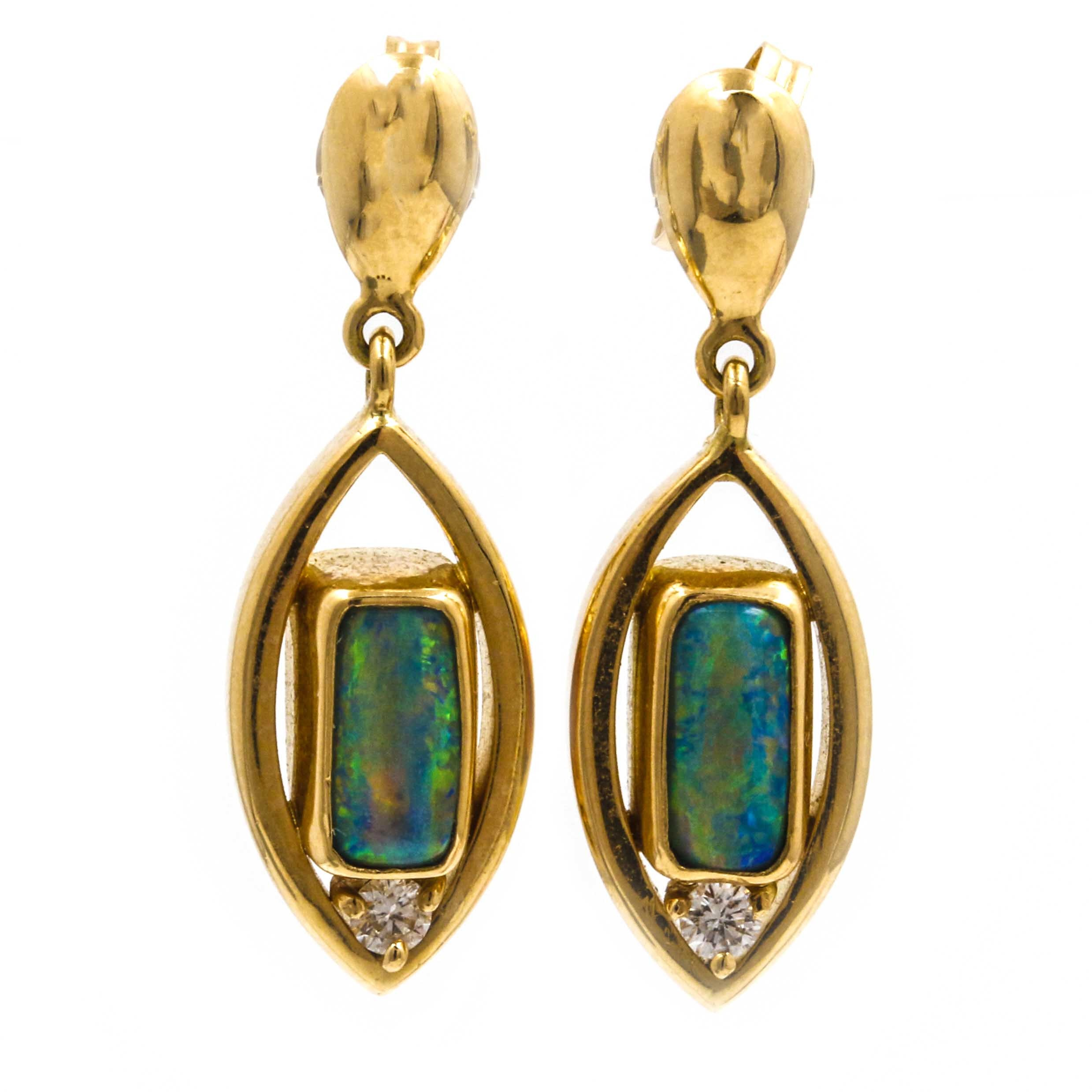 18K Yellow Gold Black Opal and Diamond Earrings