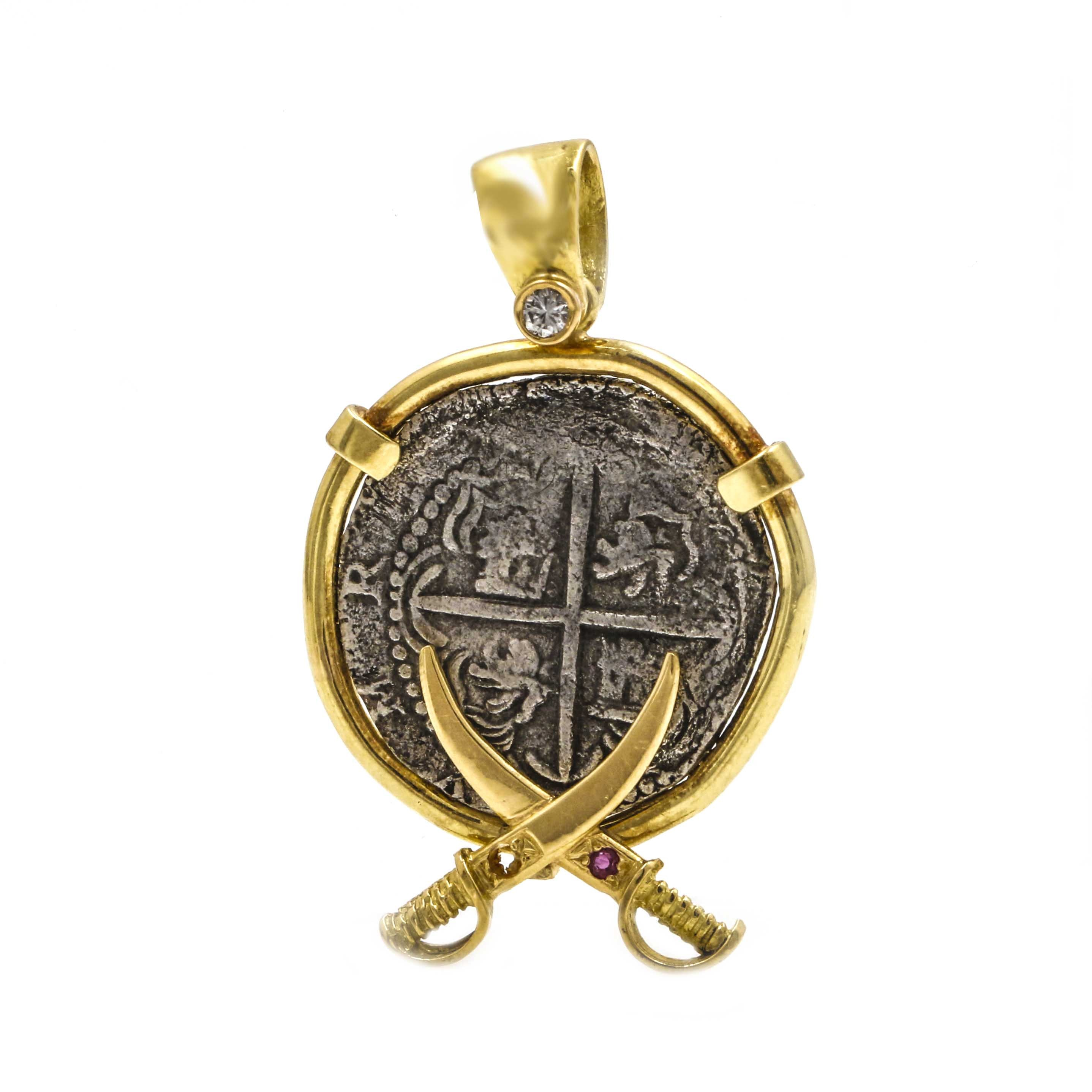18K Yellow Gold Spanish Reale Coin Pendant
