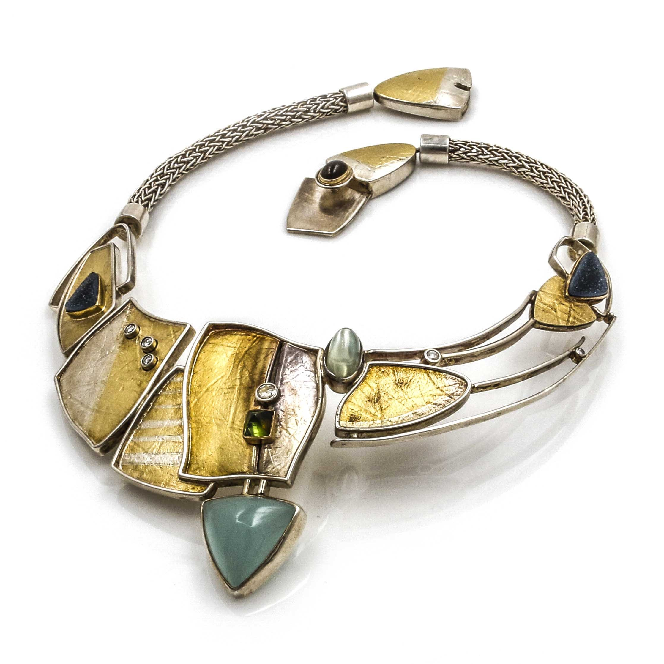 Artisan Sterling Silver and Yellow Gold Gemstone Necklace