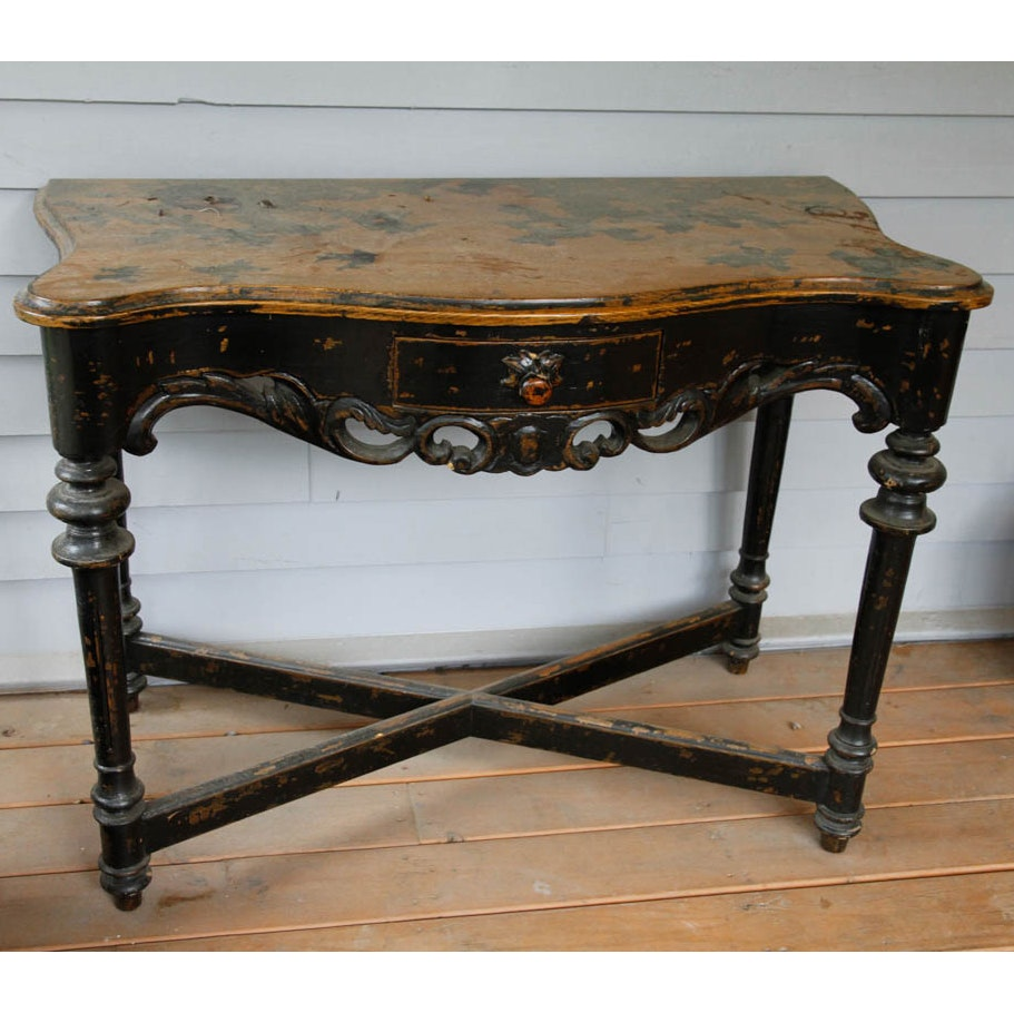 Vintage Oak Console Table With Distressed Finish