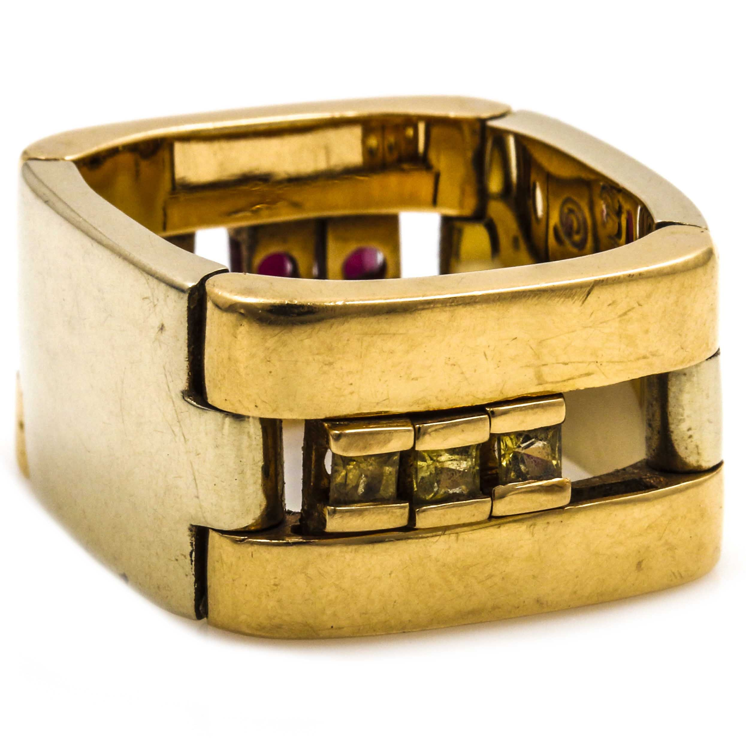 18K Yellow Gold Ruby and Sapphire Collapsible Ring