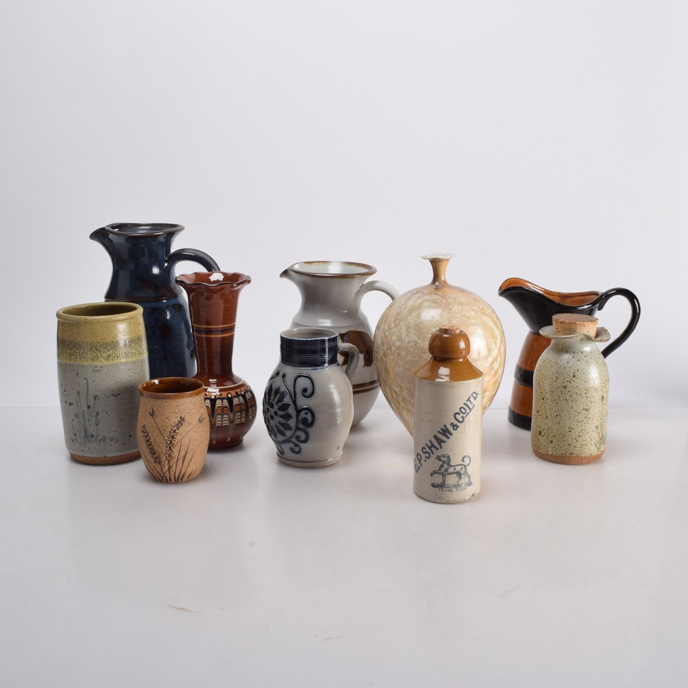Collection of Hand Thrown Porcelain and Stoneware Vessels