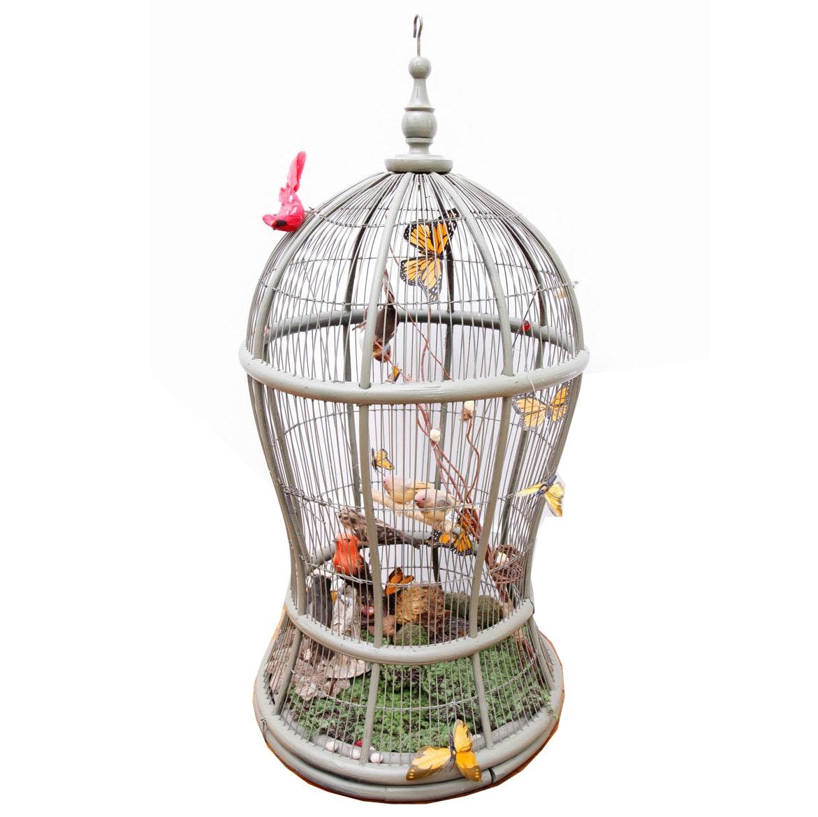 Decorative Metal Birdcage With Birds and Butterflies