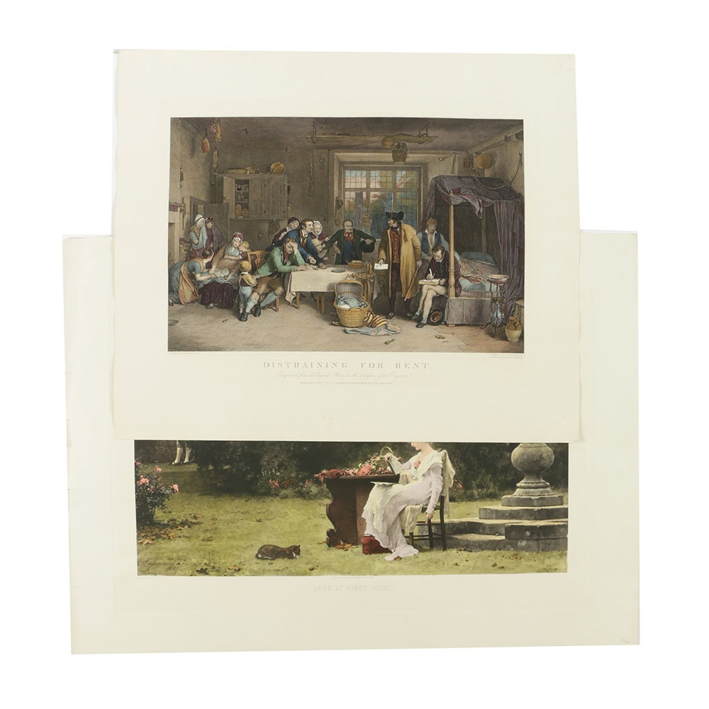 Pair of Reproduction Genre Scene Prints on Paper