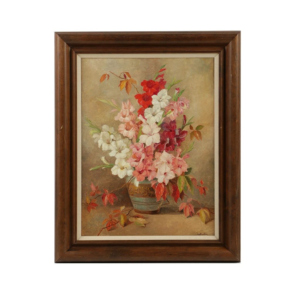 Stefanie von Trauttweiller Oil Painting on Canvas Floral Still Life