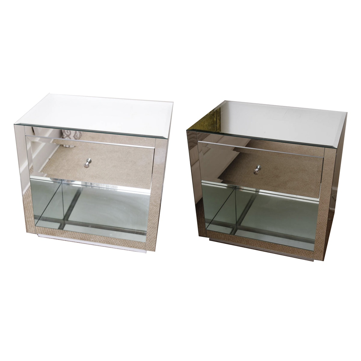 """Farrah"" Mirrored Nightstands by Worlds Away"