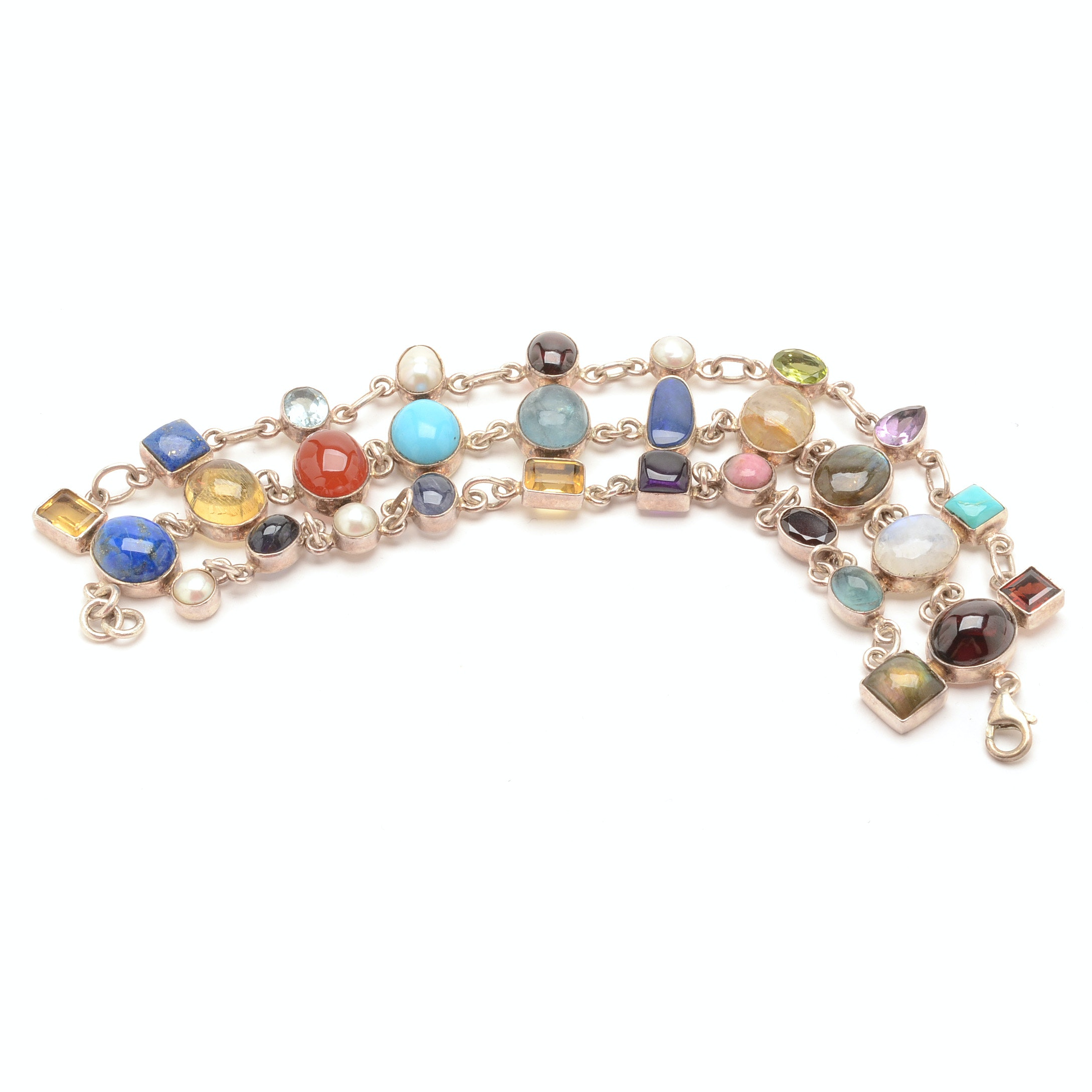 Sterling Silver and Multi-Color Stone Triple Row Link Bracelet