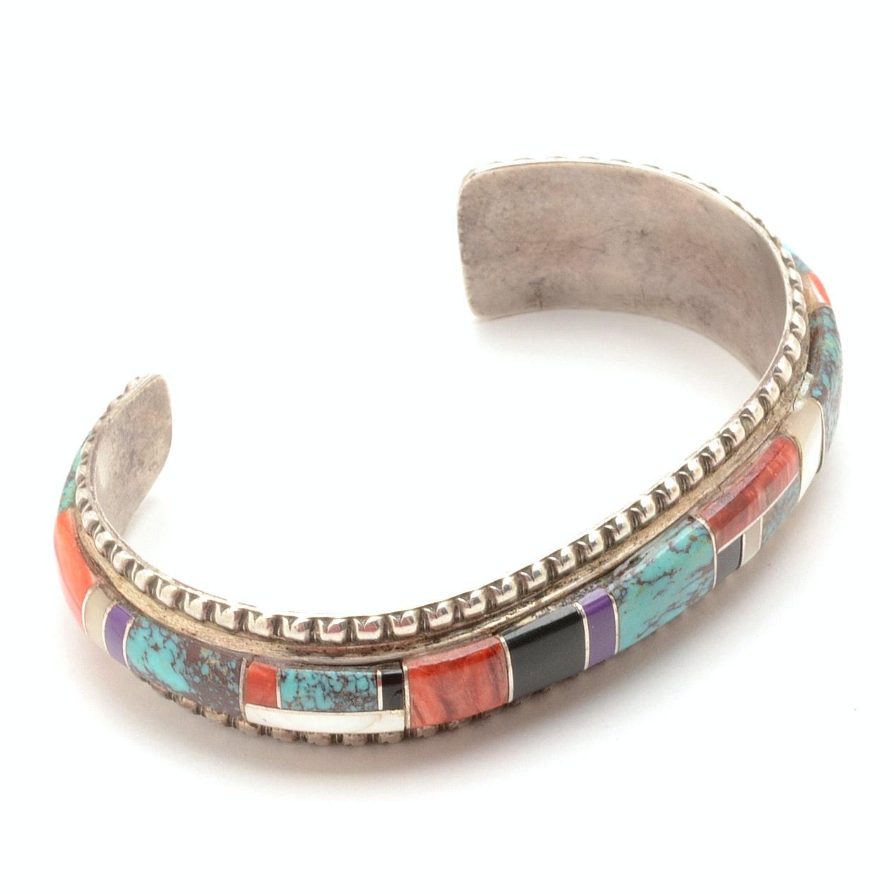 Native American Style Sterling Multi-Stone Inlaid Cuff Bracelet