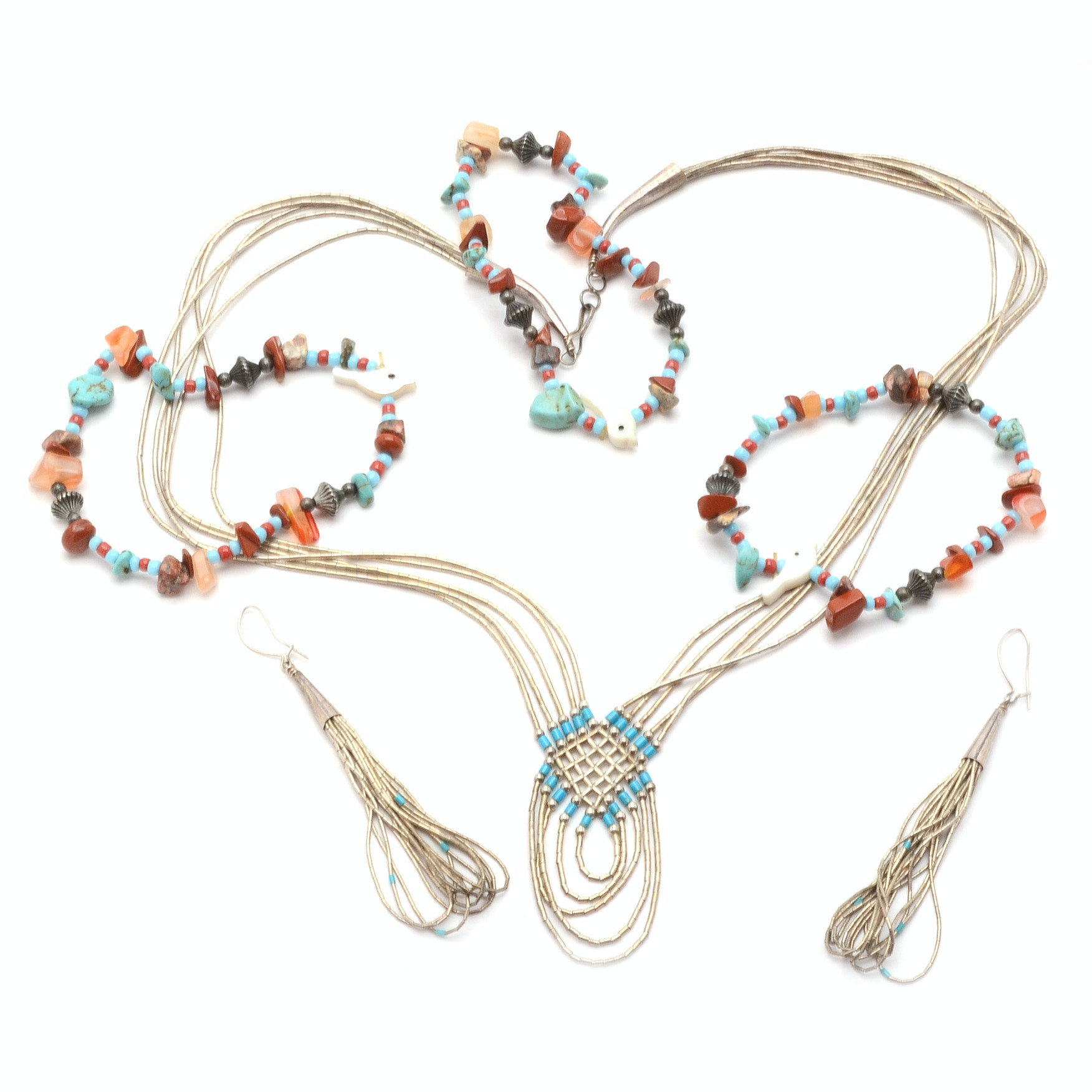 Group of Southwestern Sterling Jewelry and Multi-Stone Bracelets