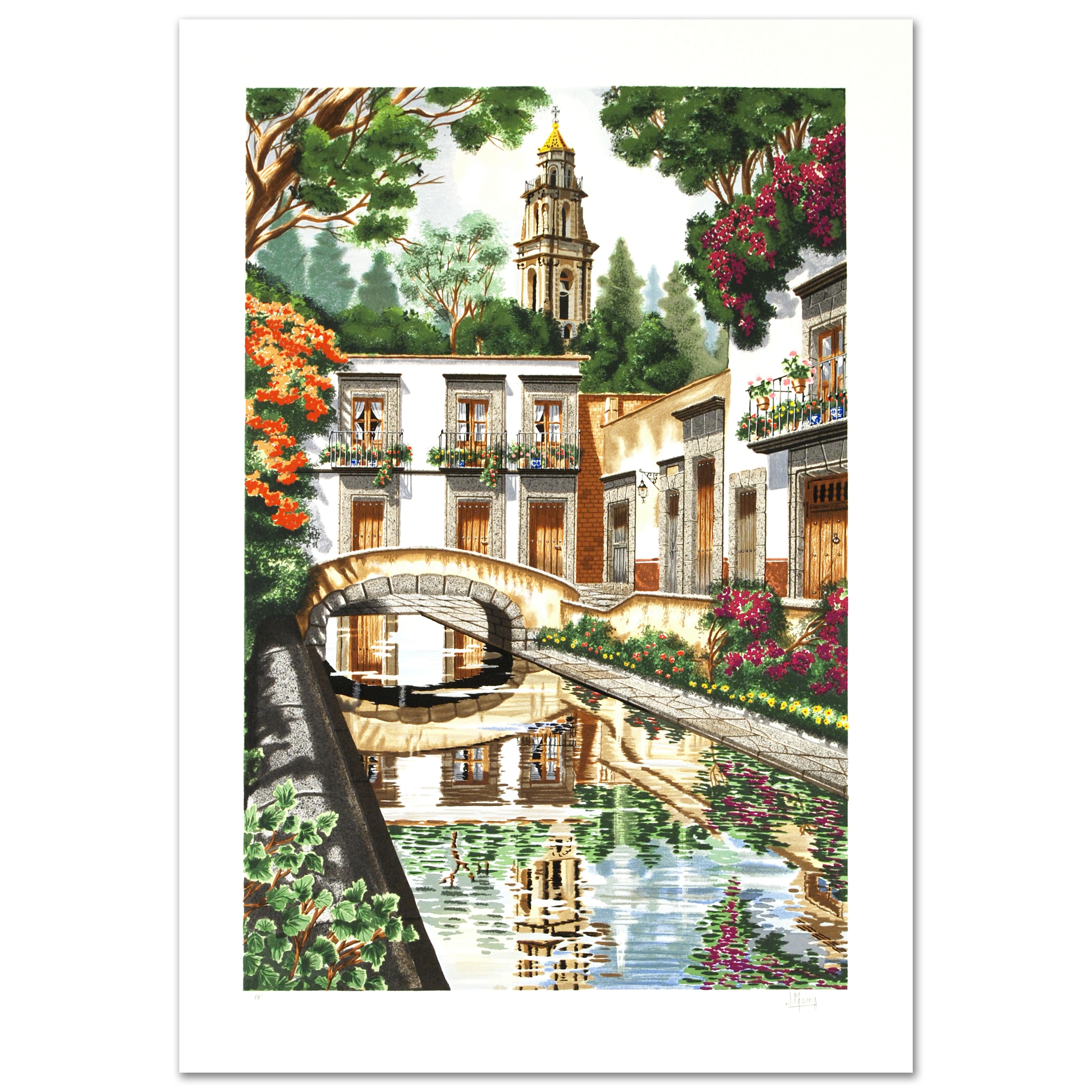 "Juan Medina Limited Edition Serigraph on Paper ""Reflections"""