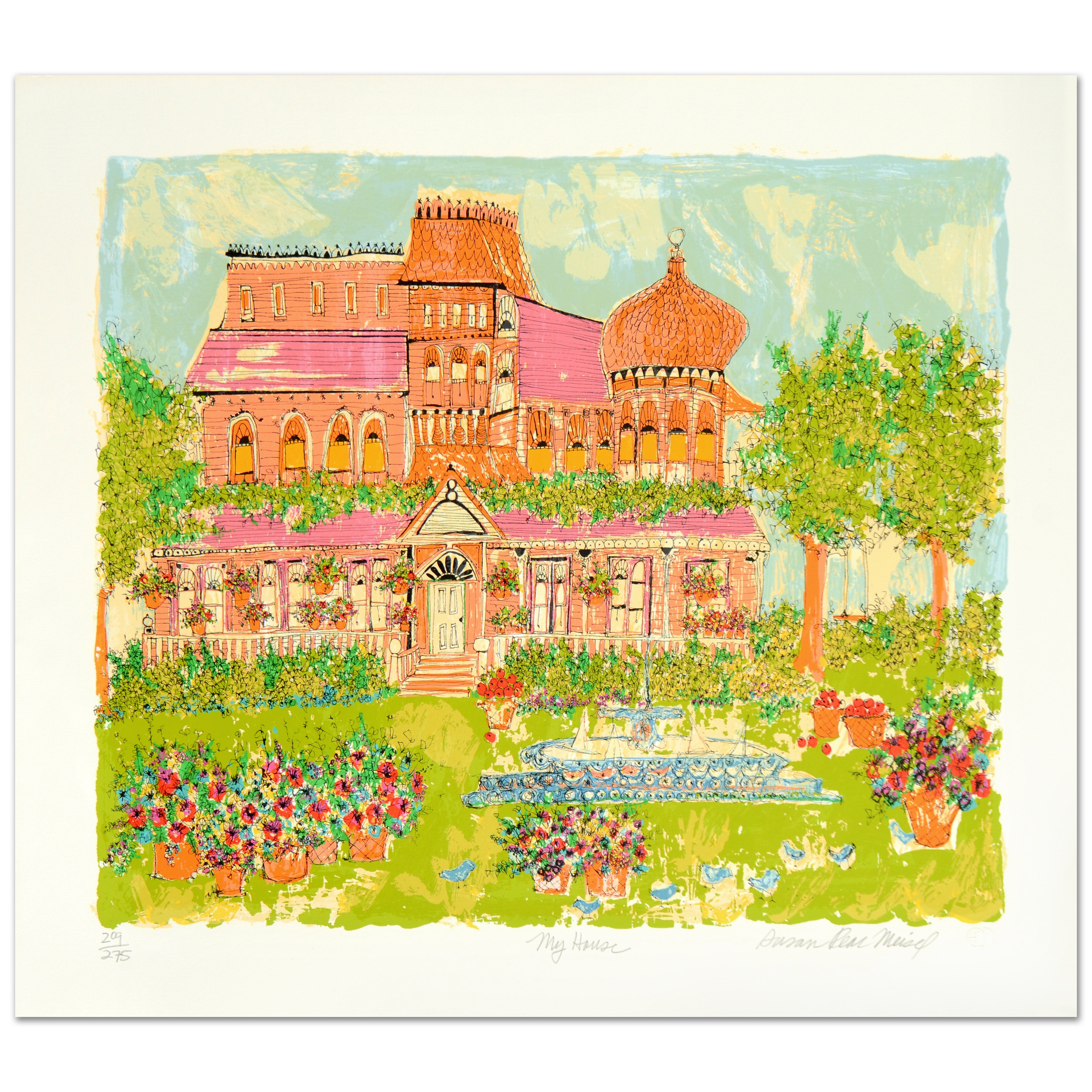 "Susan Pear Meisel Limited Edition Serigraph ""My House"""