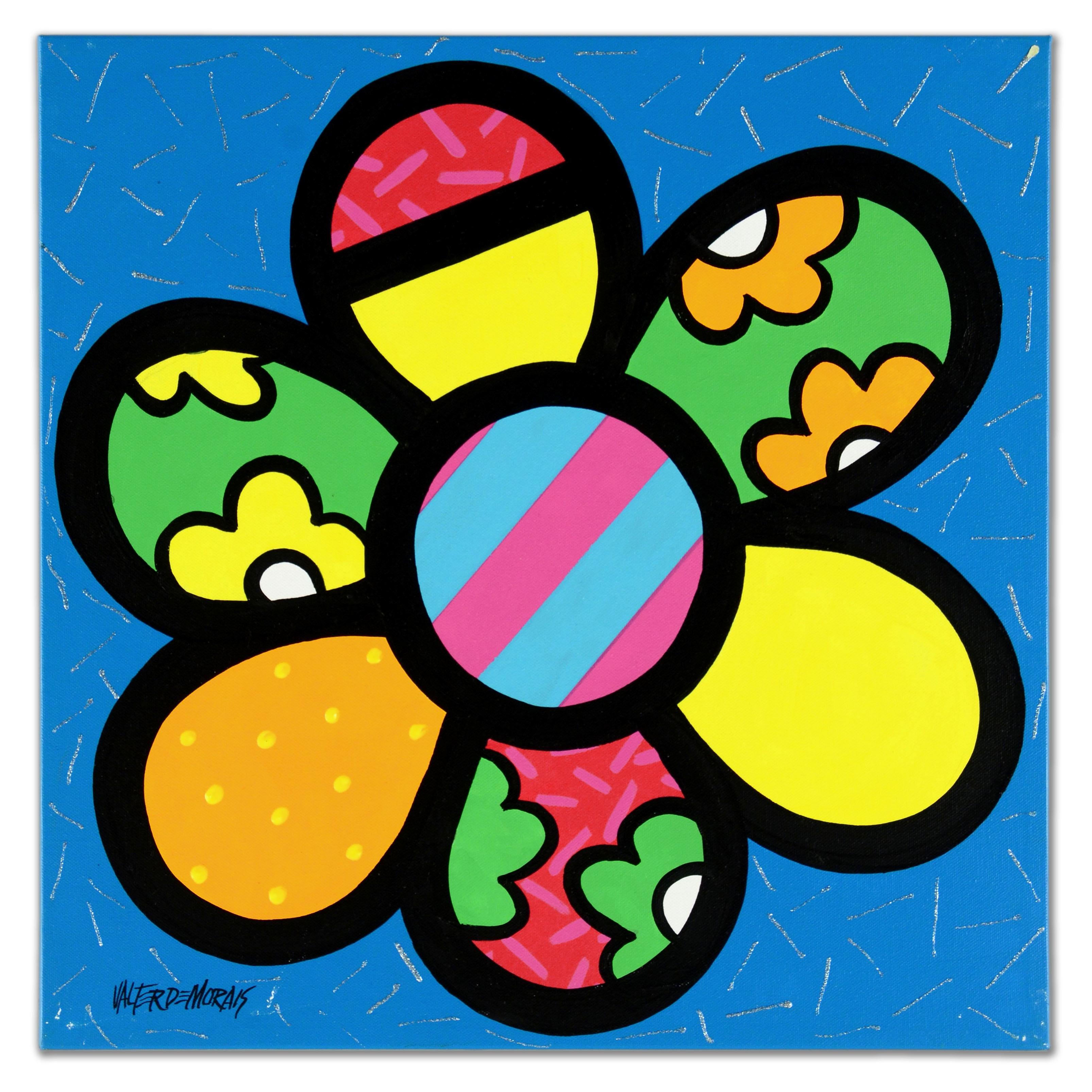 "Valter Morais Acrylic Painting on Canvas ""Flower II"""