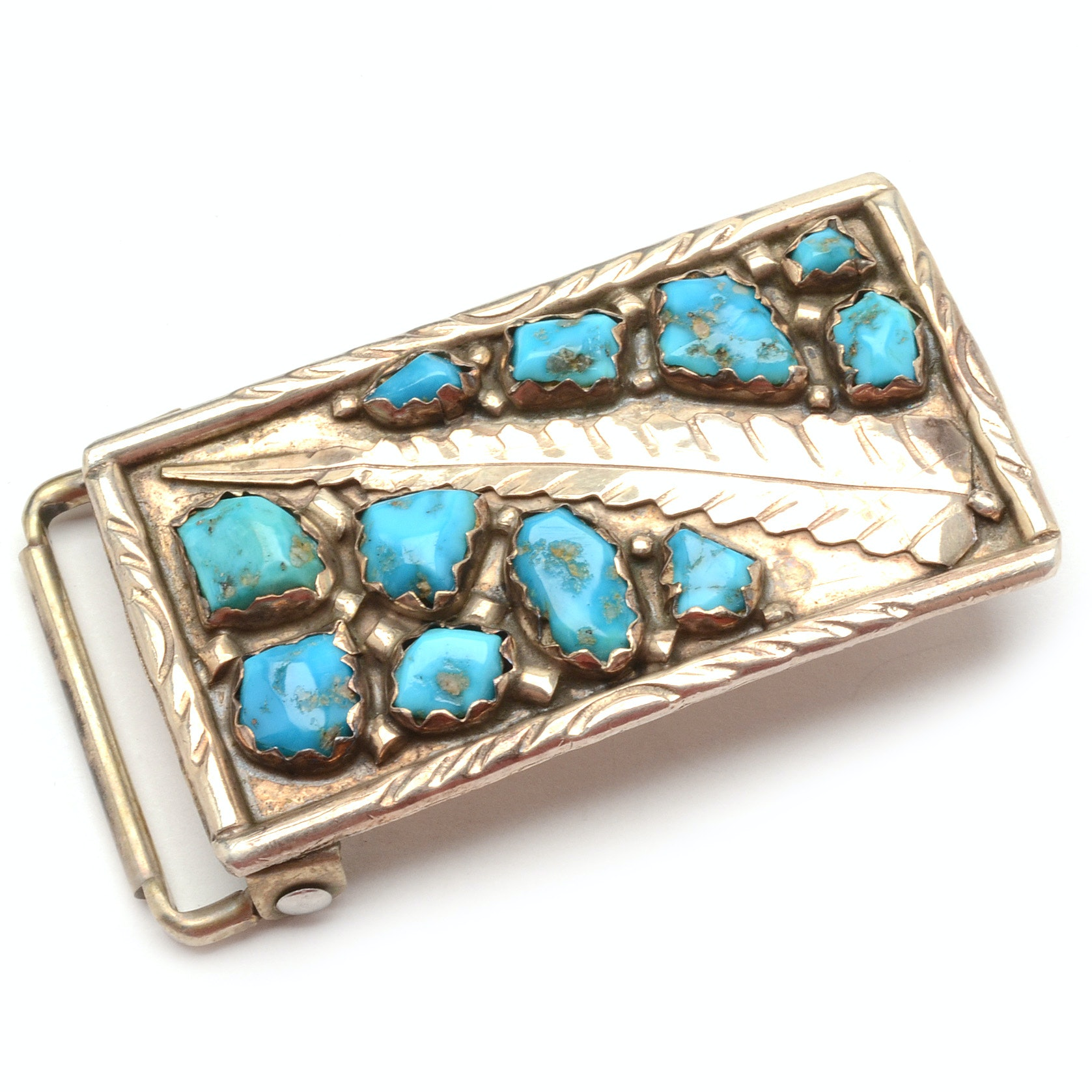 Vintage Wayne Cheama Zuni Sterling Silver Turquoise Buckle