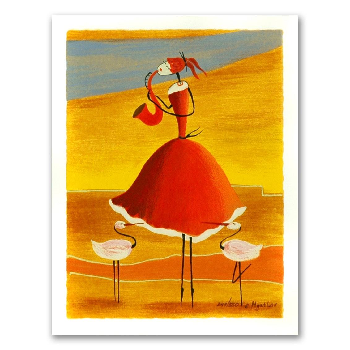 "Ester Myatlov Limited Edition Serigraph on Paper ""Saxophone Girl"""