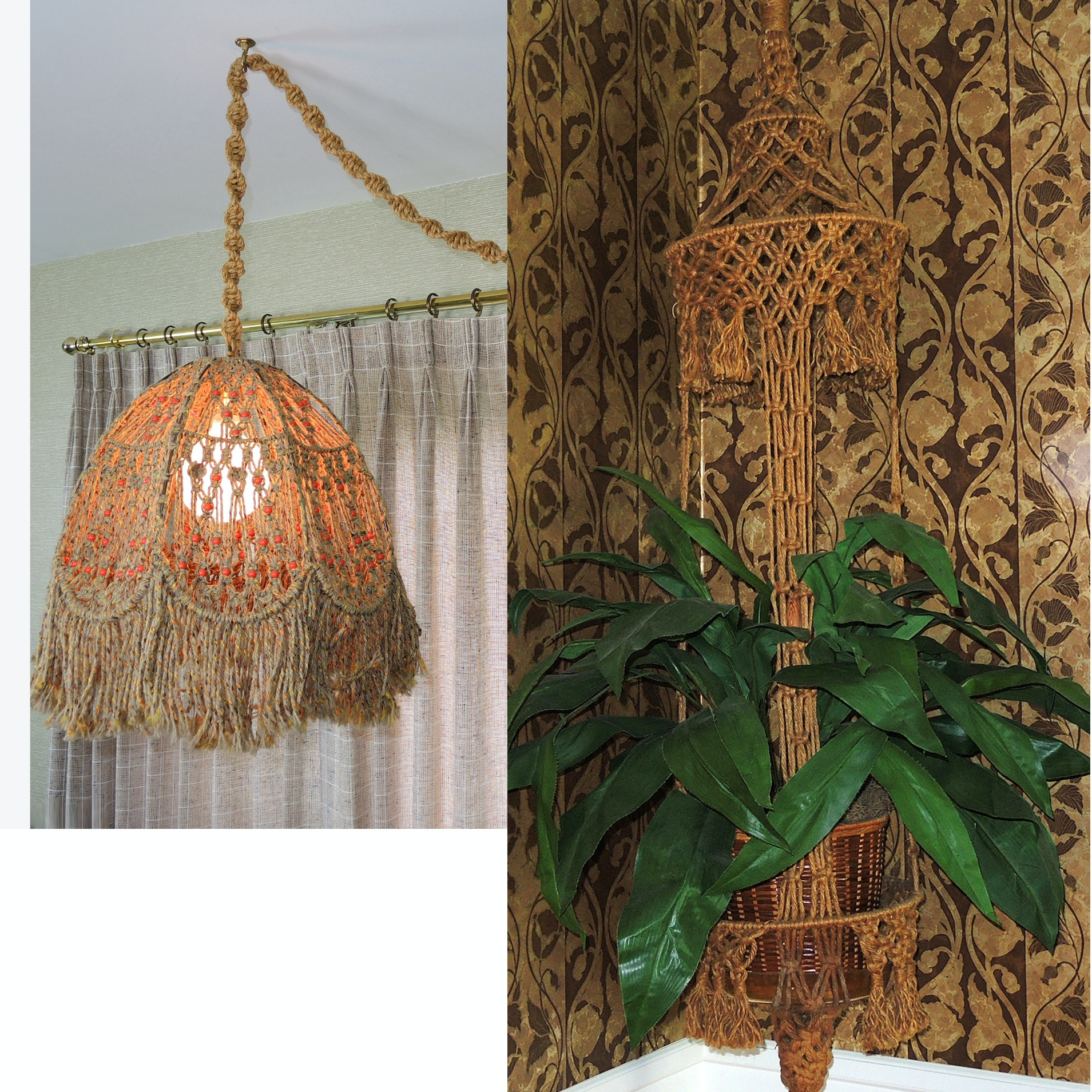 Vintage Hanging Macramé Swag Lamp and Plant Hanger