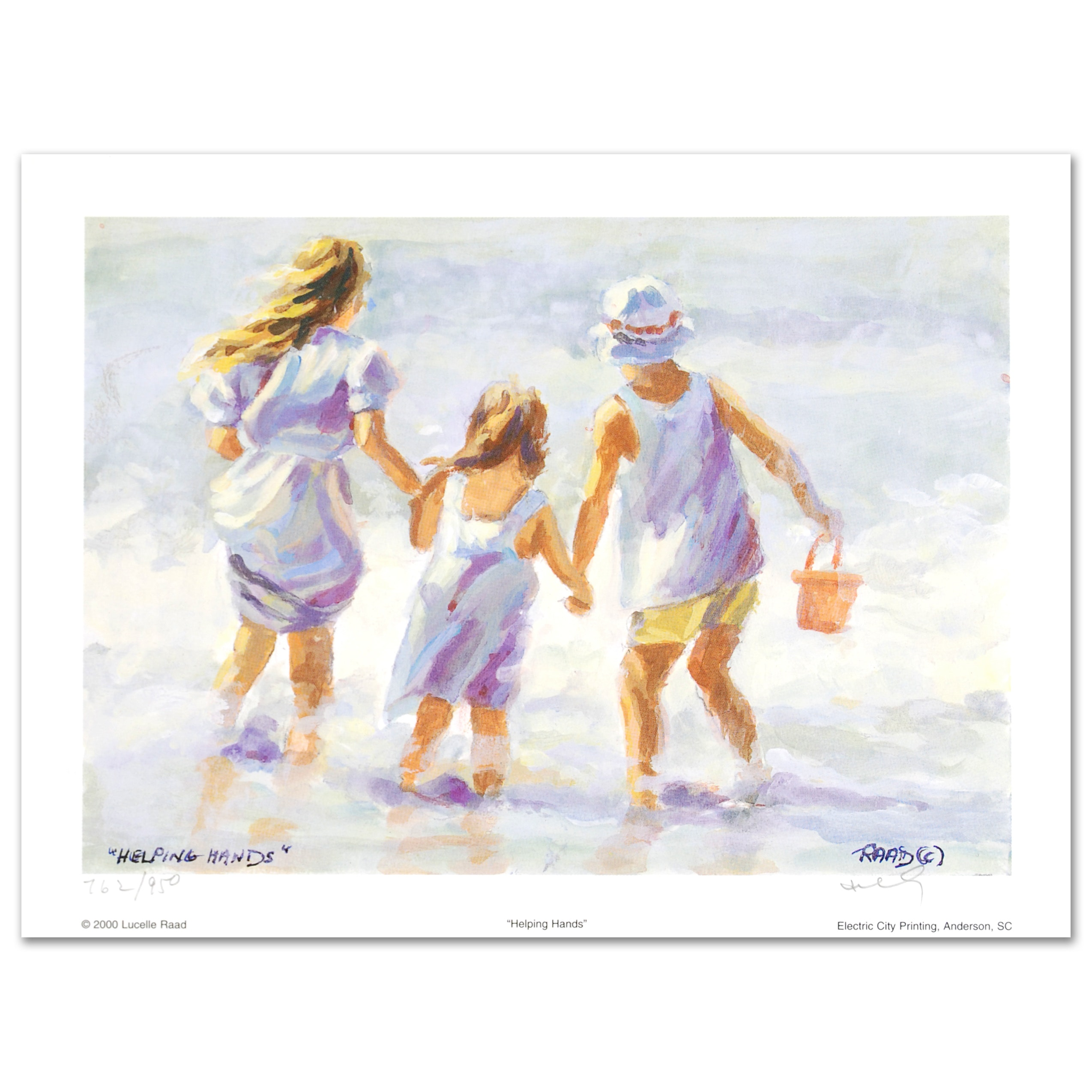 """Lucelle Raad Limited Edition Lithograph """"Helping Hands"""""""
