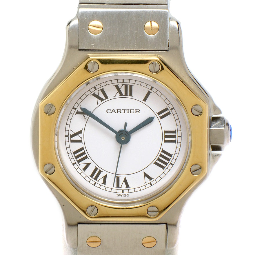 c99fd5c7bc95 Women s Cartier Santos Octagon 18K Gold and Steel Automatic   EBTH