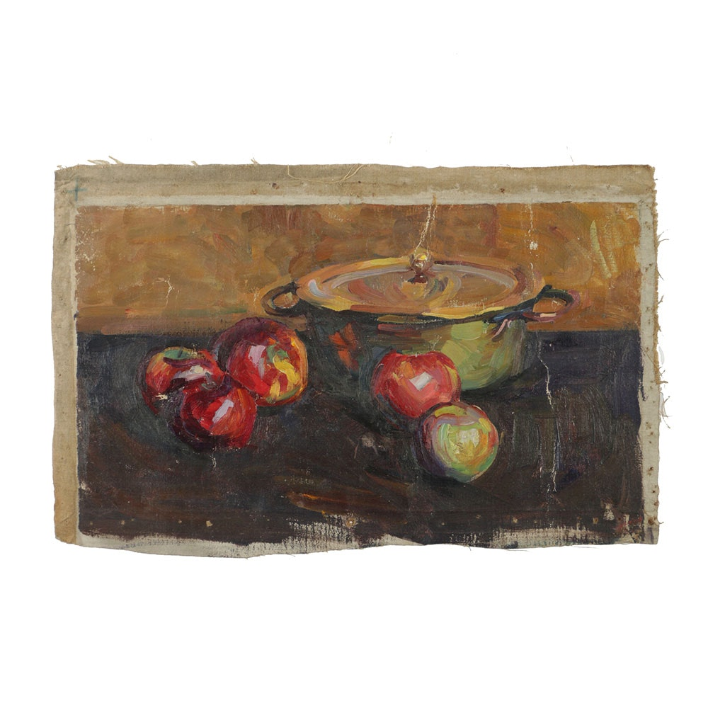 Emily B. Waite Oil Painting on Unstretched Canvas Still Life with Apples