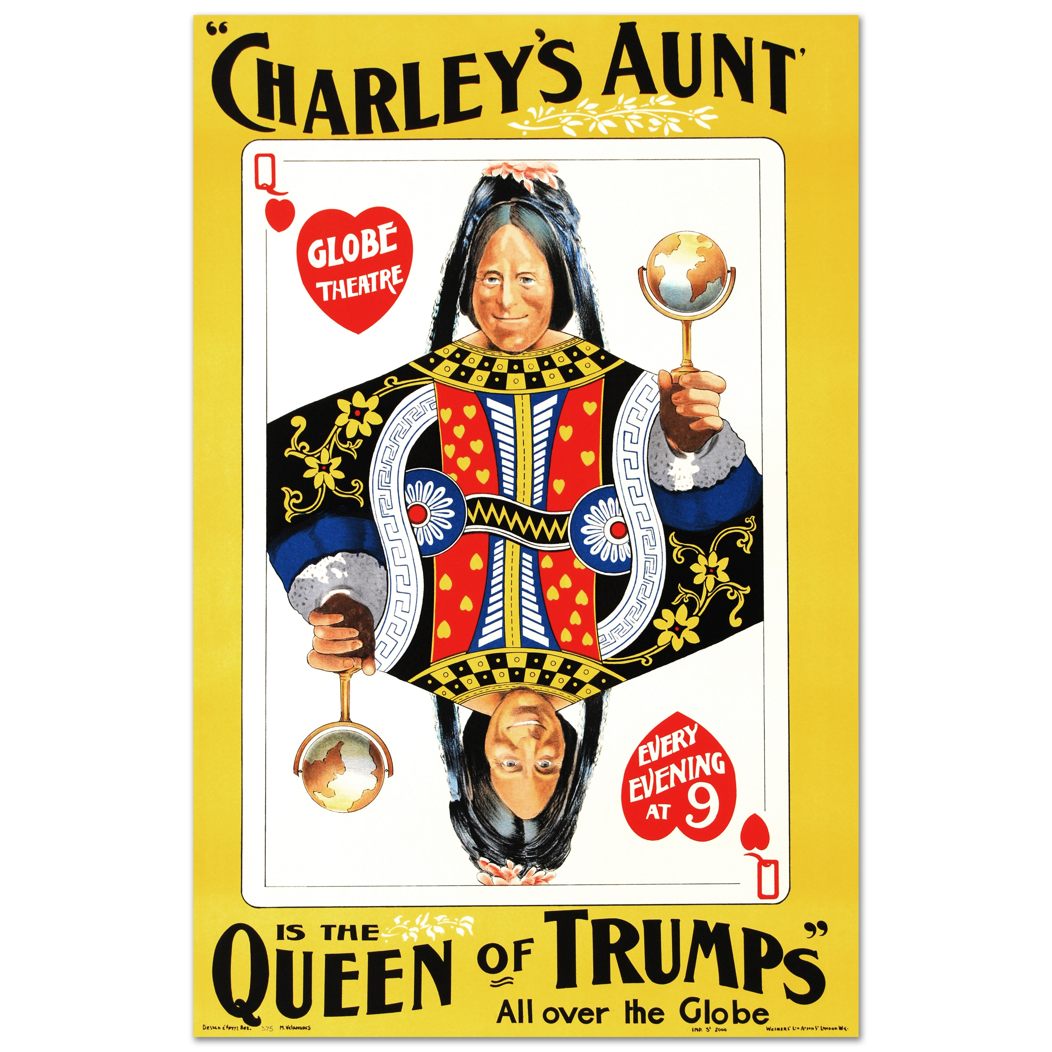 """After Chadwick Rymer Lithograph on Paper """"Charley's Aunt, Is The Queen of Trumps"""""""