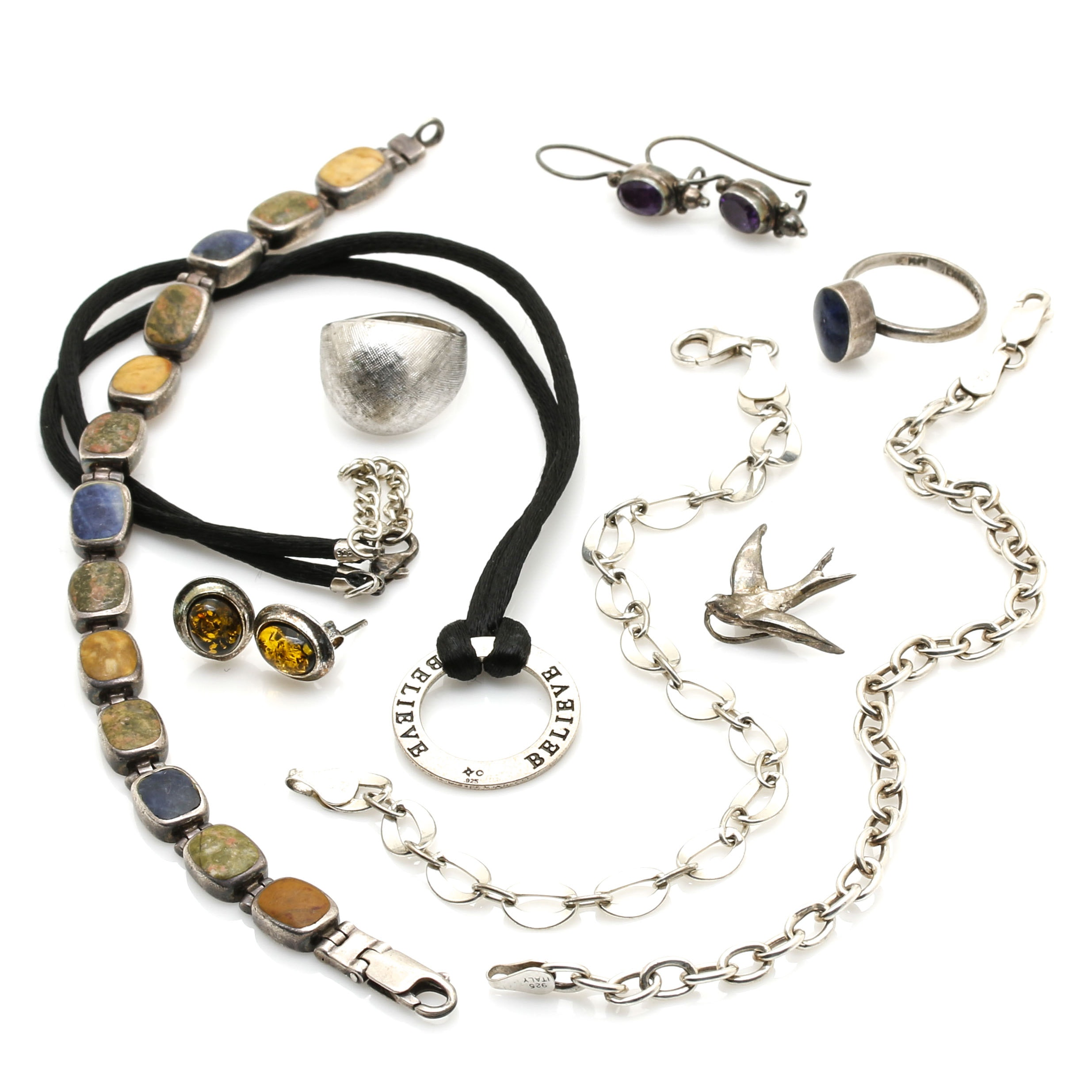Assorted Sterling Silver Jewelry With Gemstones