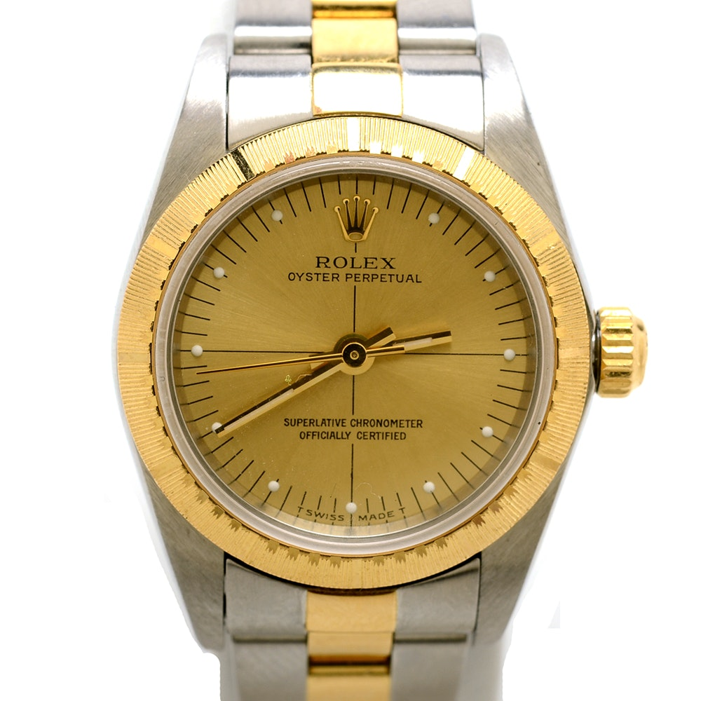 Women's Rolex Perpetual 18K Gold and Steel Champagne Automatic