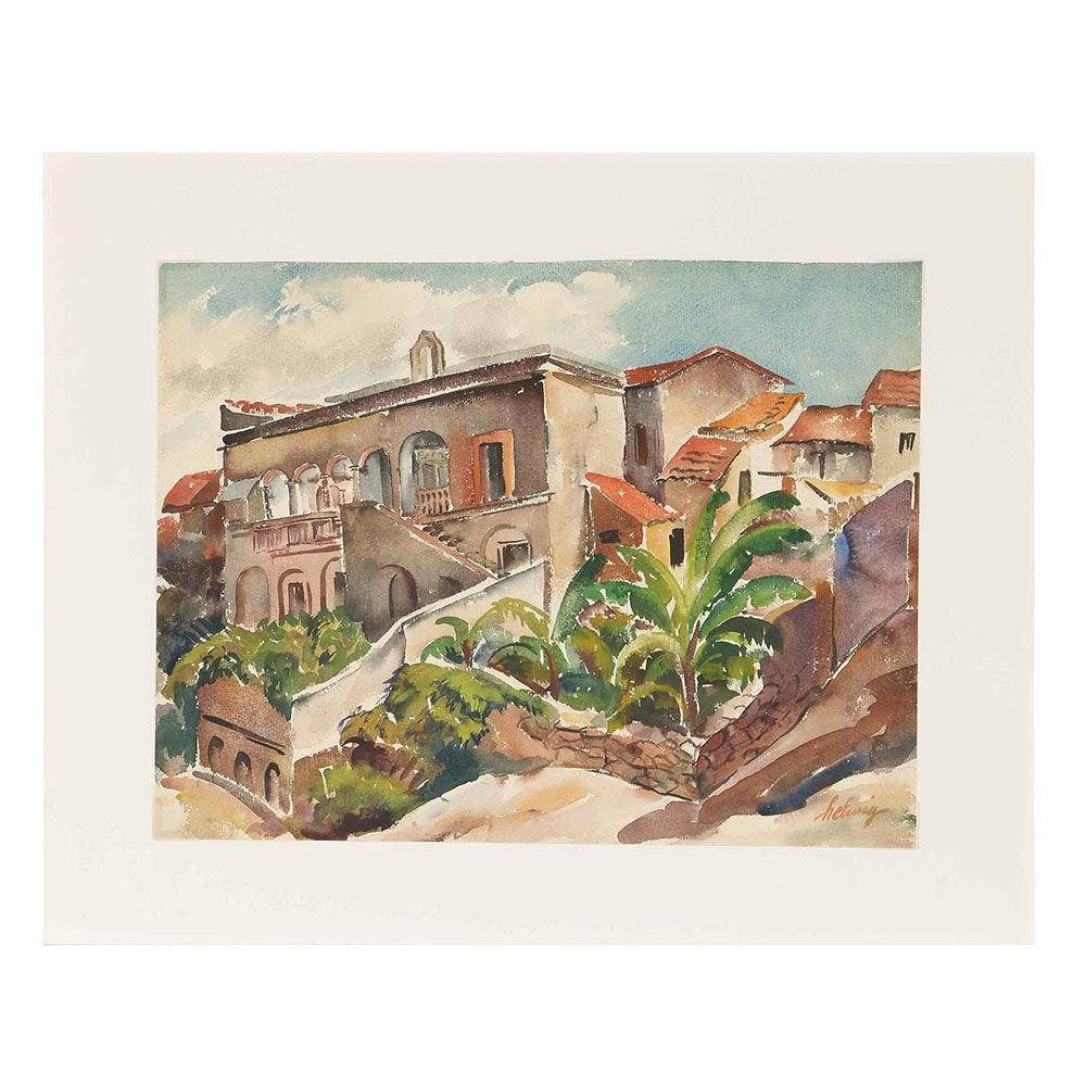 Arthur Helwig Watercolor on Paper Tropical Landscape