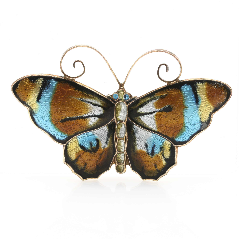 David-Andersen of Norway Sterling Silver Enamel Butterfly Brooch