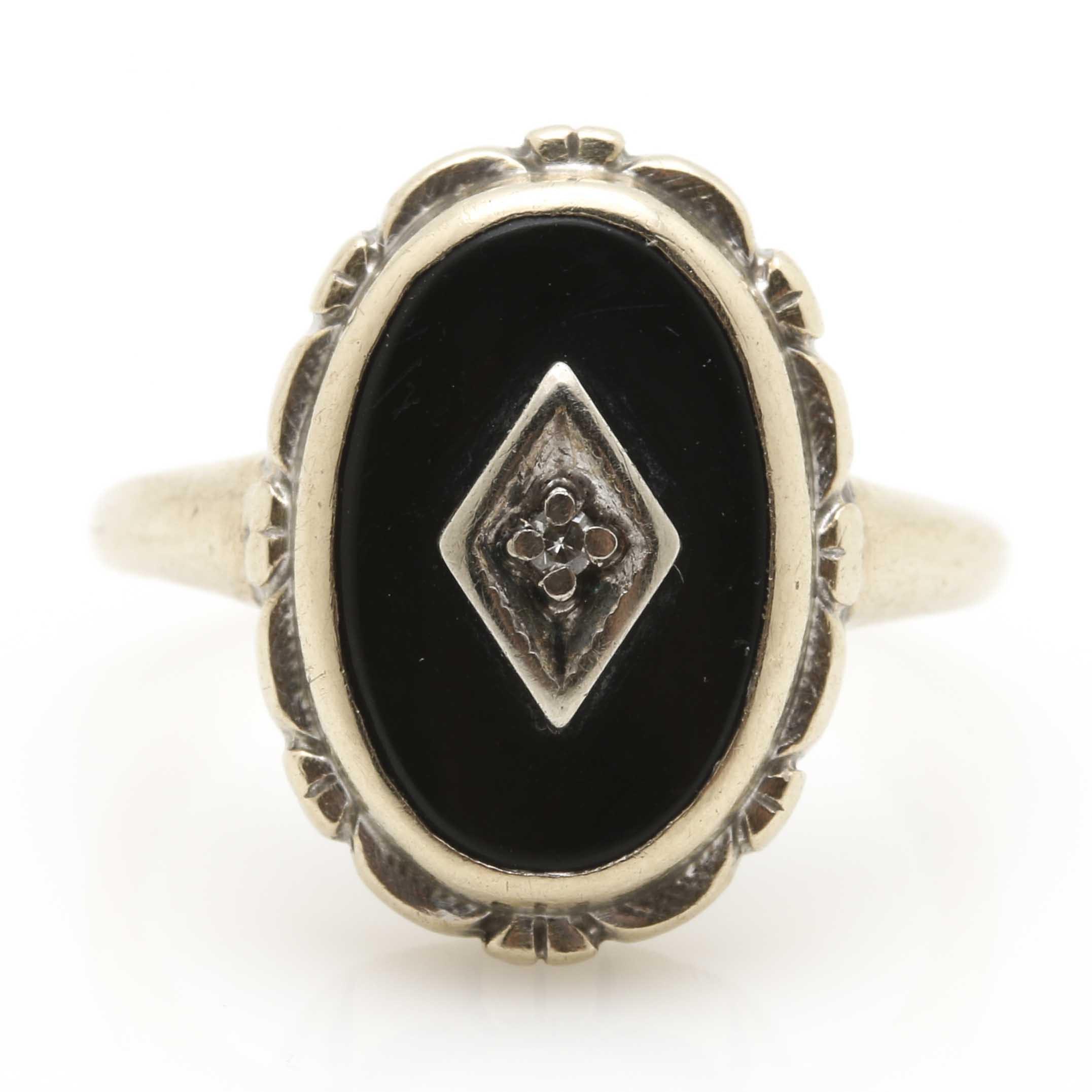 Art Deco Era 14K White Gold Onyx and Diamond Ring