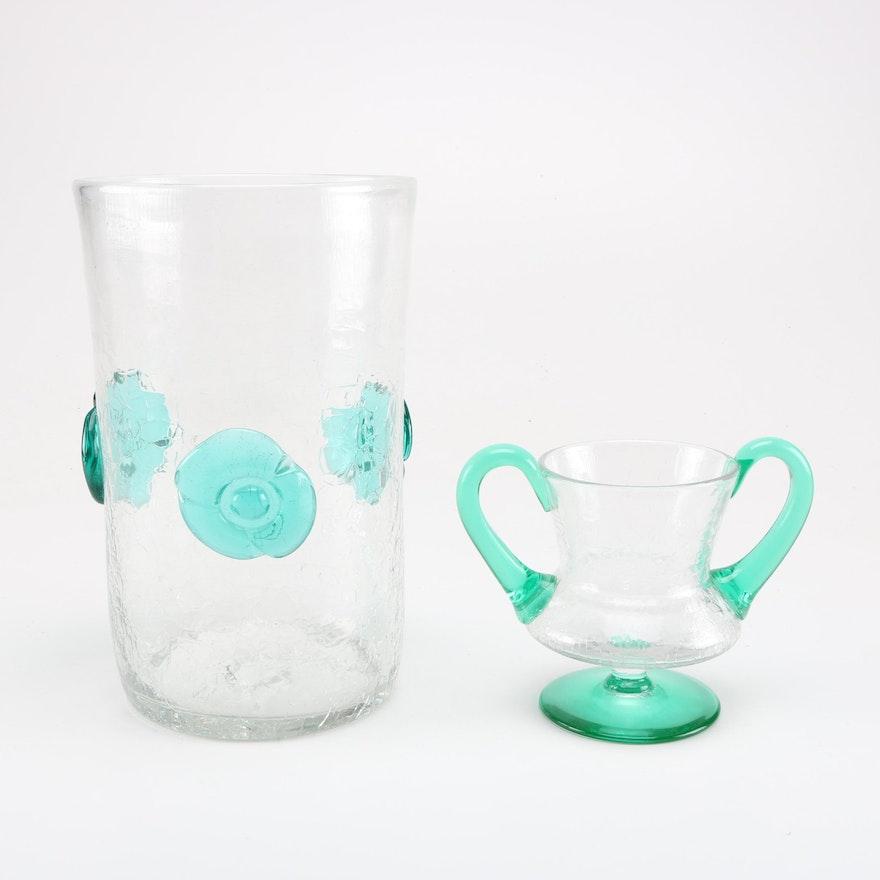 Blenko Crackle Glass Vases Ebth