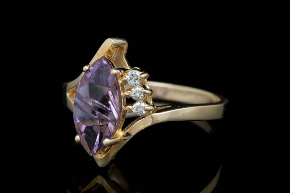 14K Gold, Amethyst and Diamond Ring
