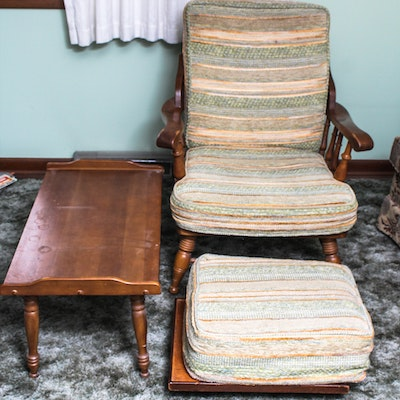 vintage wood frame armchair and table