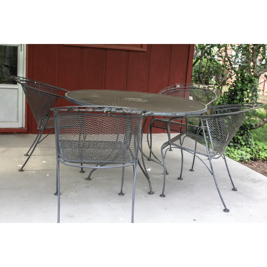 Vintage Wrought Iron Outdoor Table And Chairs Ebth