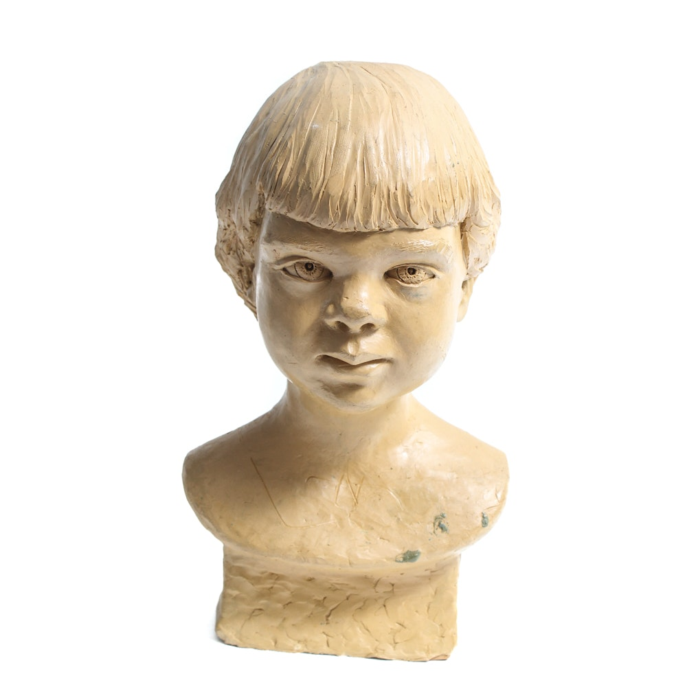 Vintage Modeled Clay Bust of Child