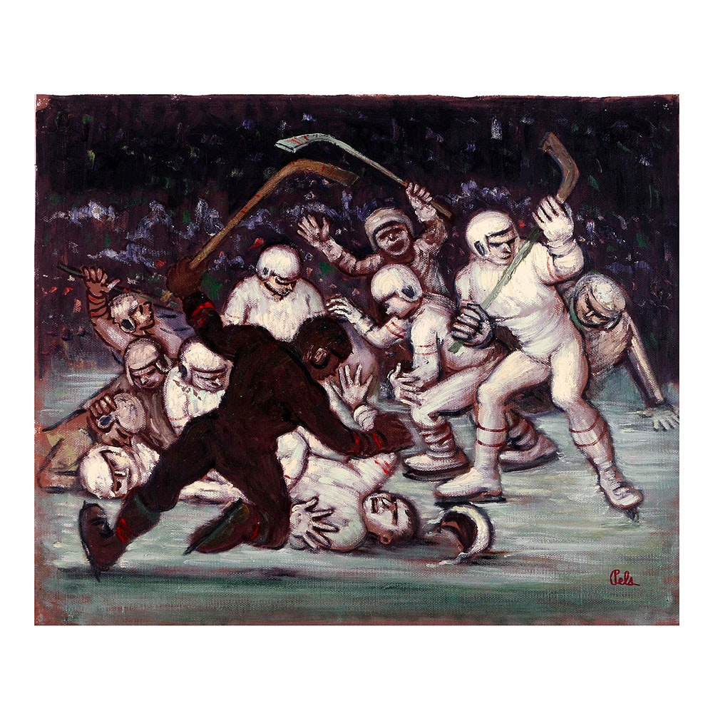 Albert Pels Oil Painting on Unstretched Canvas of an Ice Hockey Game