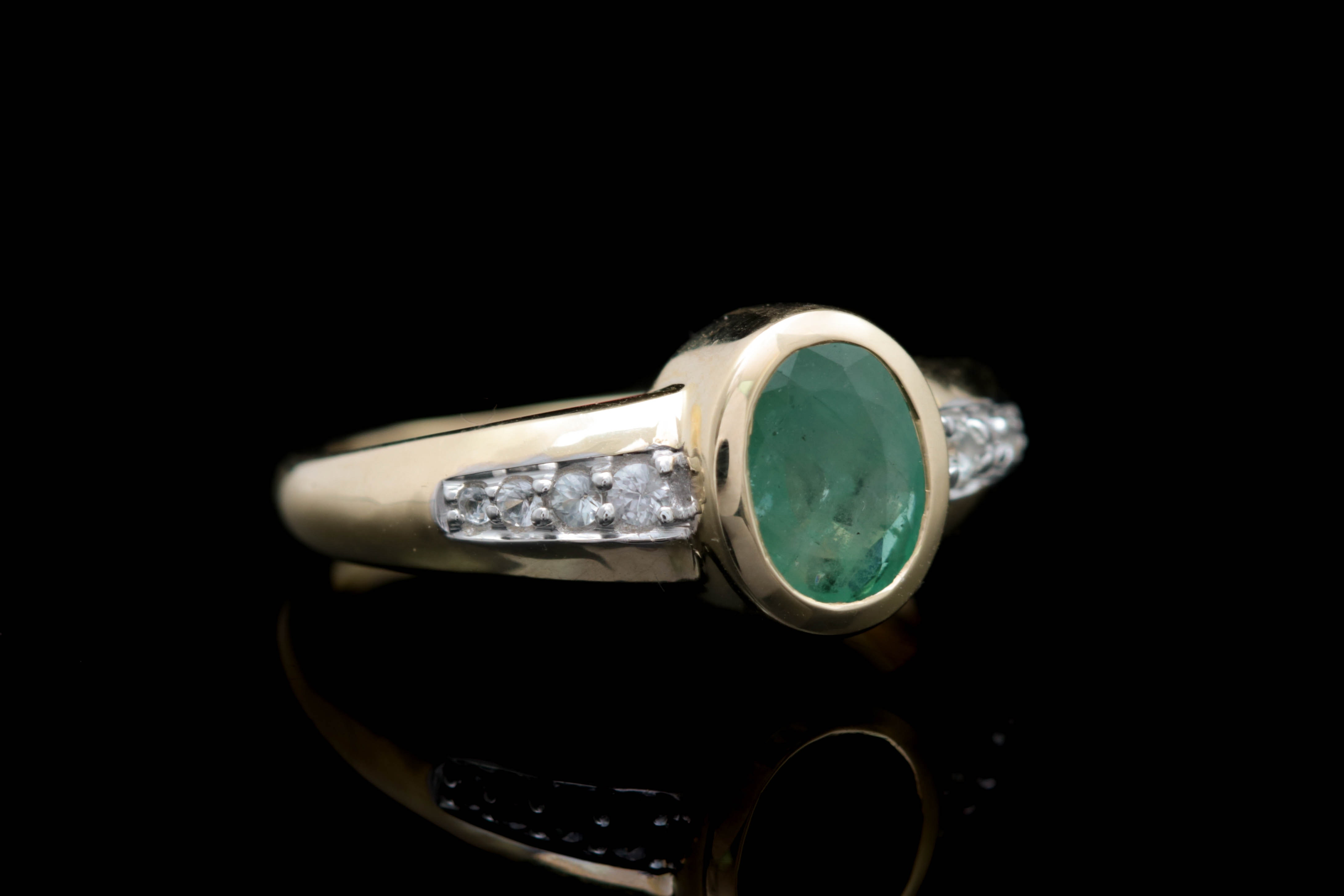 1.25 CT Emerald, White Sapphire and 14K Yellow Gold Ring