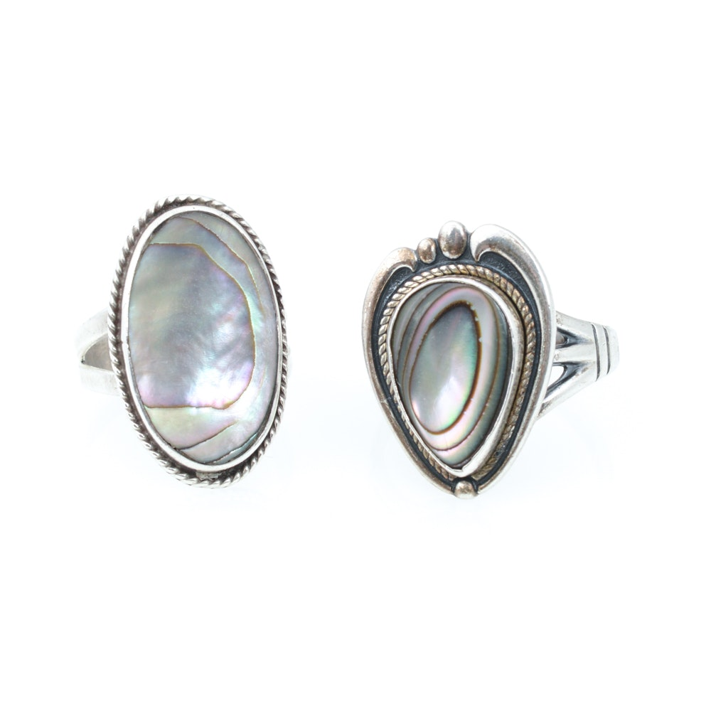 Pair of Sterling Silver and Mother-of-Pearl Rings