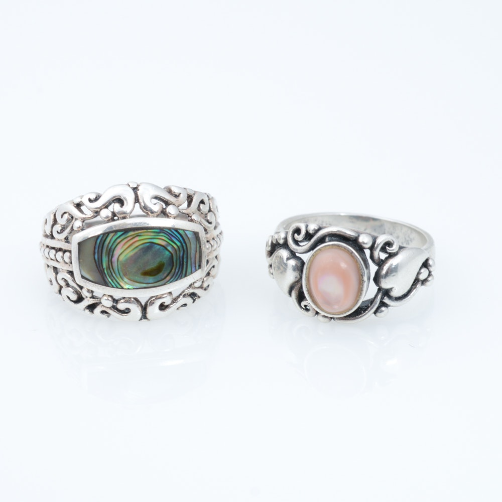 Pair of Sterling Silver and Mother of Pearl Rings