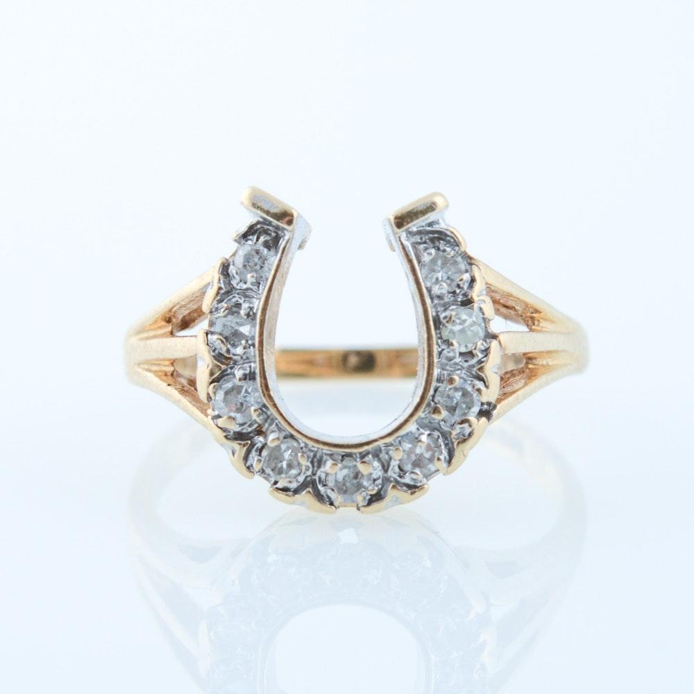 14K Yellow Gold and Diamond Horseshoe Ring