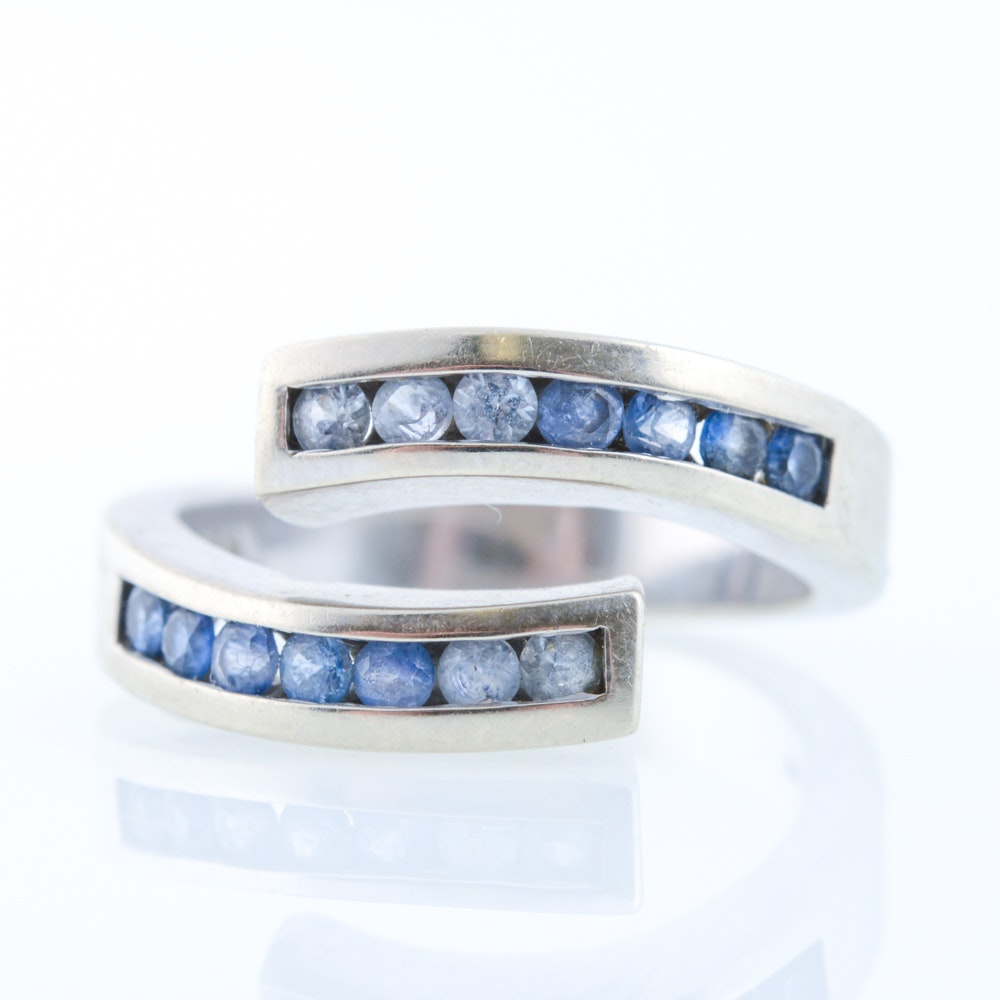14K White Gold and Sapphire Bypass Ring