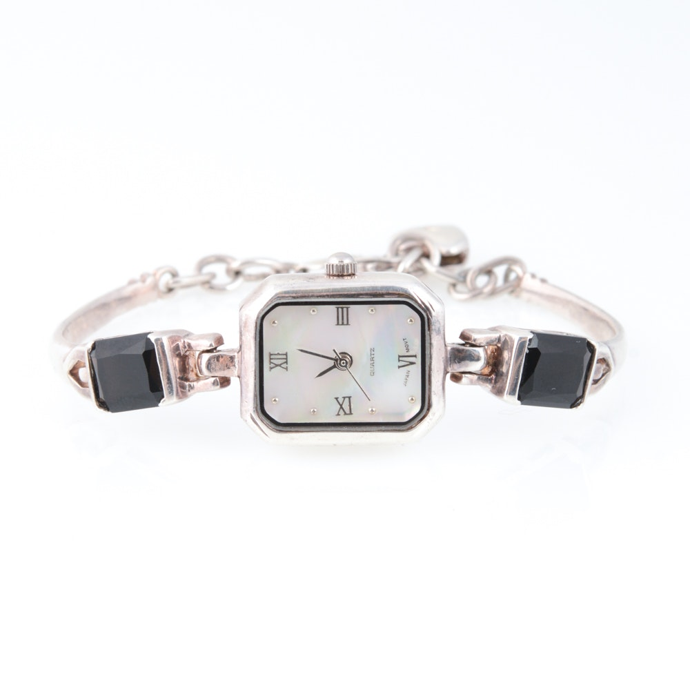 Sterling Silver Quartz and Mother of Pearl Wristwatch