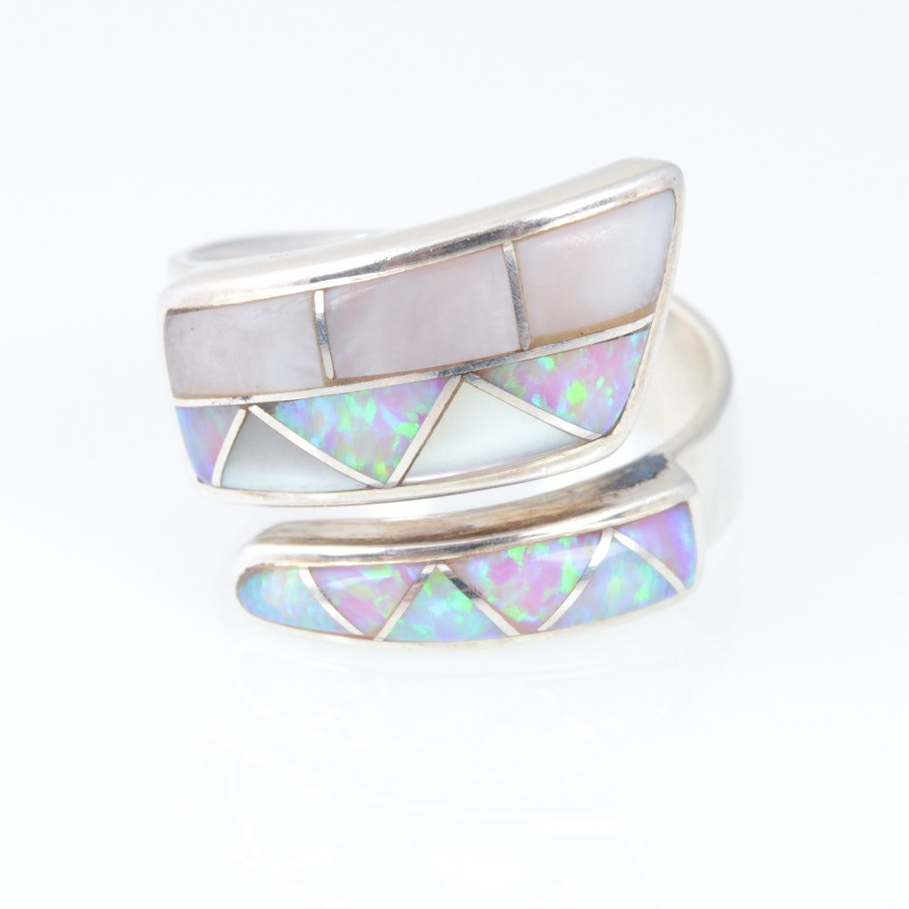 Sajen Sterling Silver Opal and Mother of Pearl Ring
